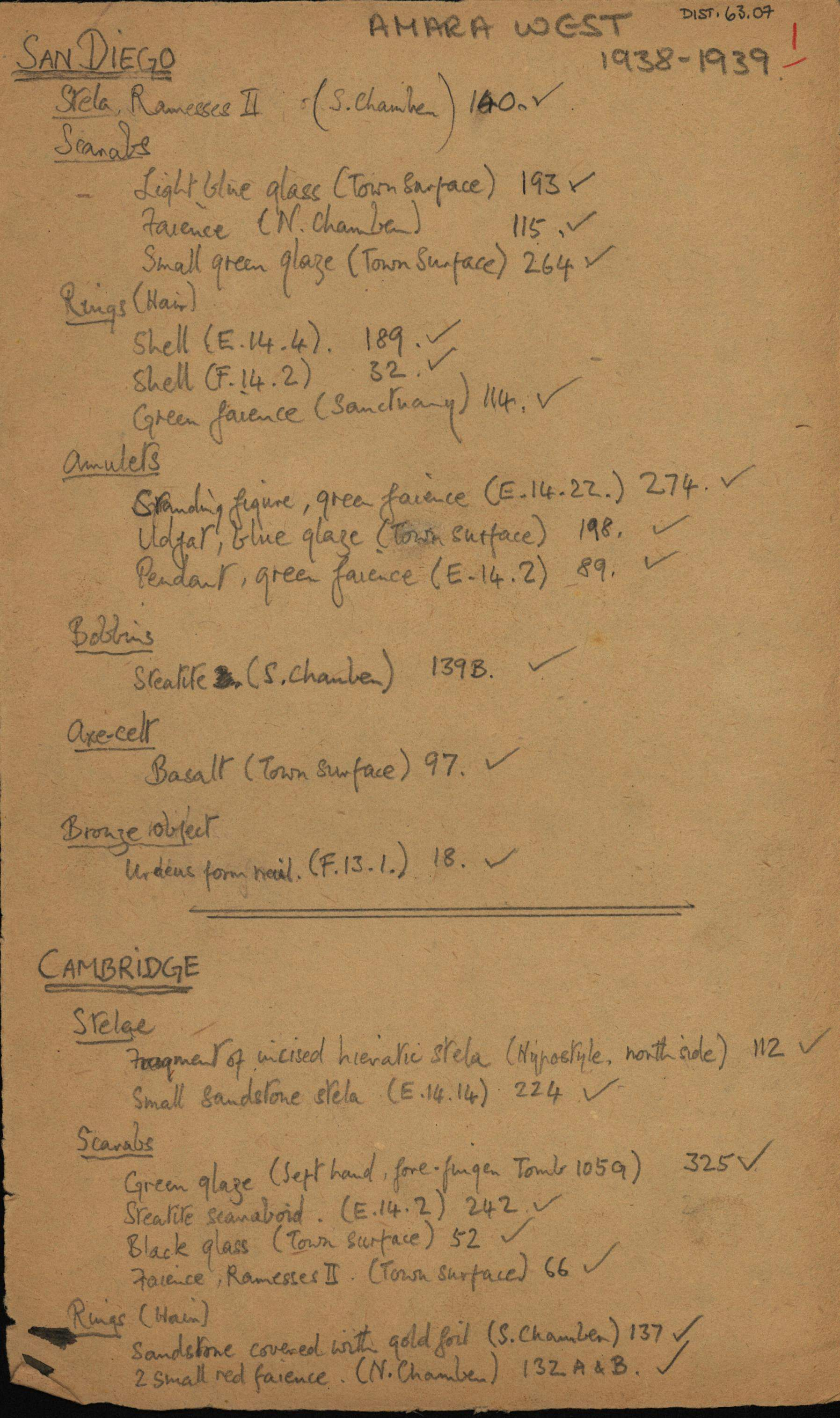 1936-39 Amarah West, Sesebi DIST.63.07a