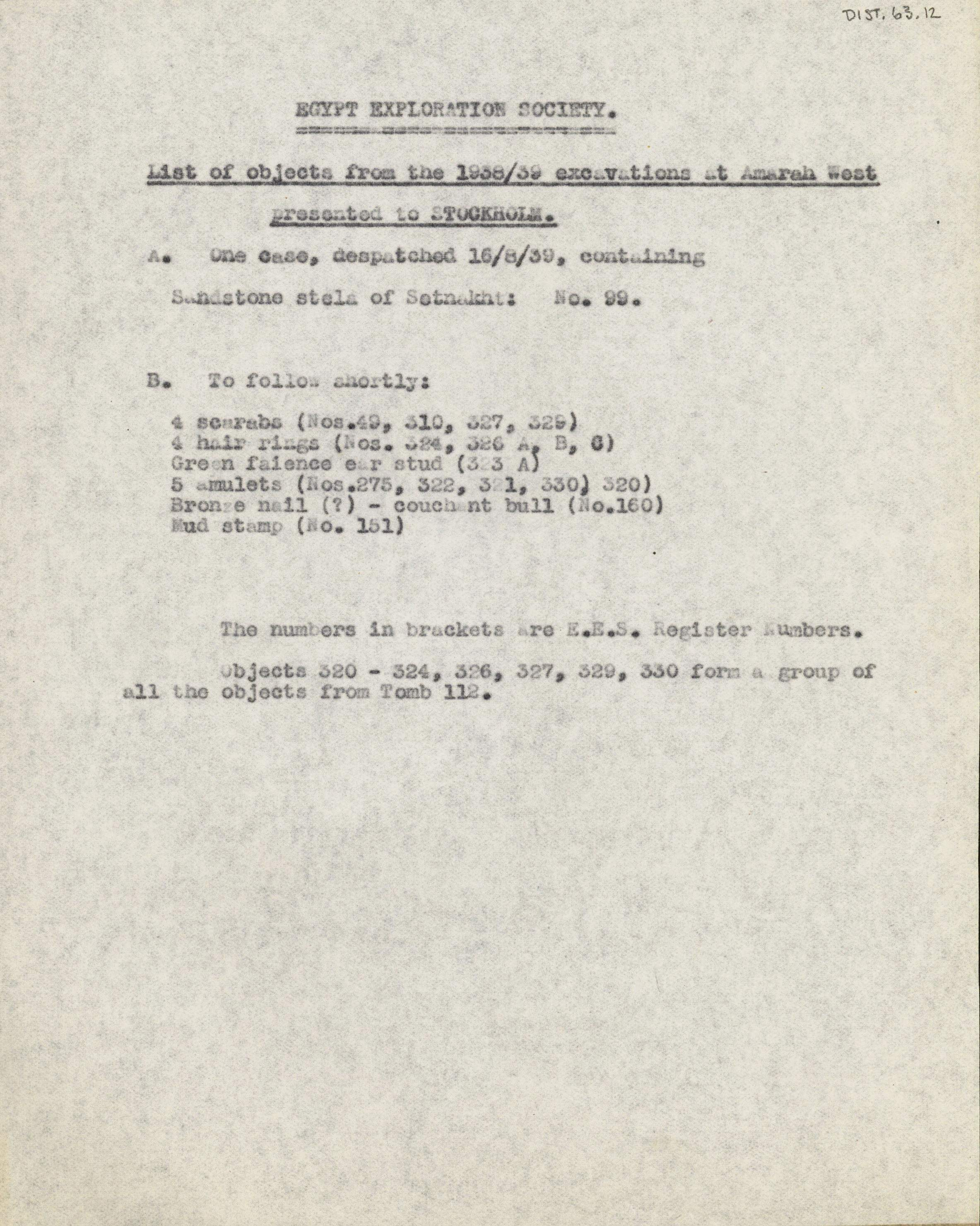 1936-39 Amarah West, Sesebi DIST.63.12