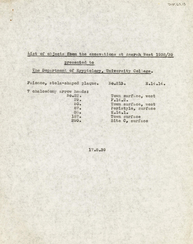 1936-39 Amarah West, Sesebi DIST.63.13