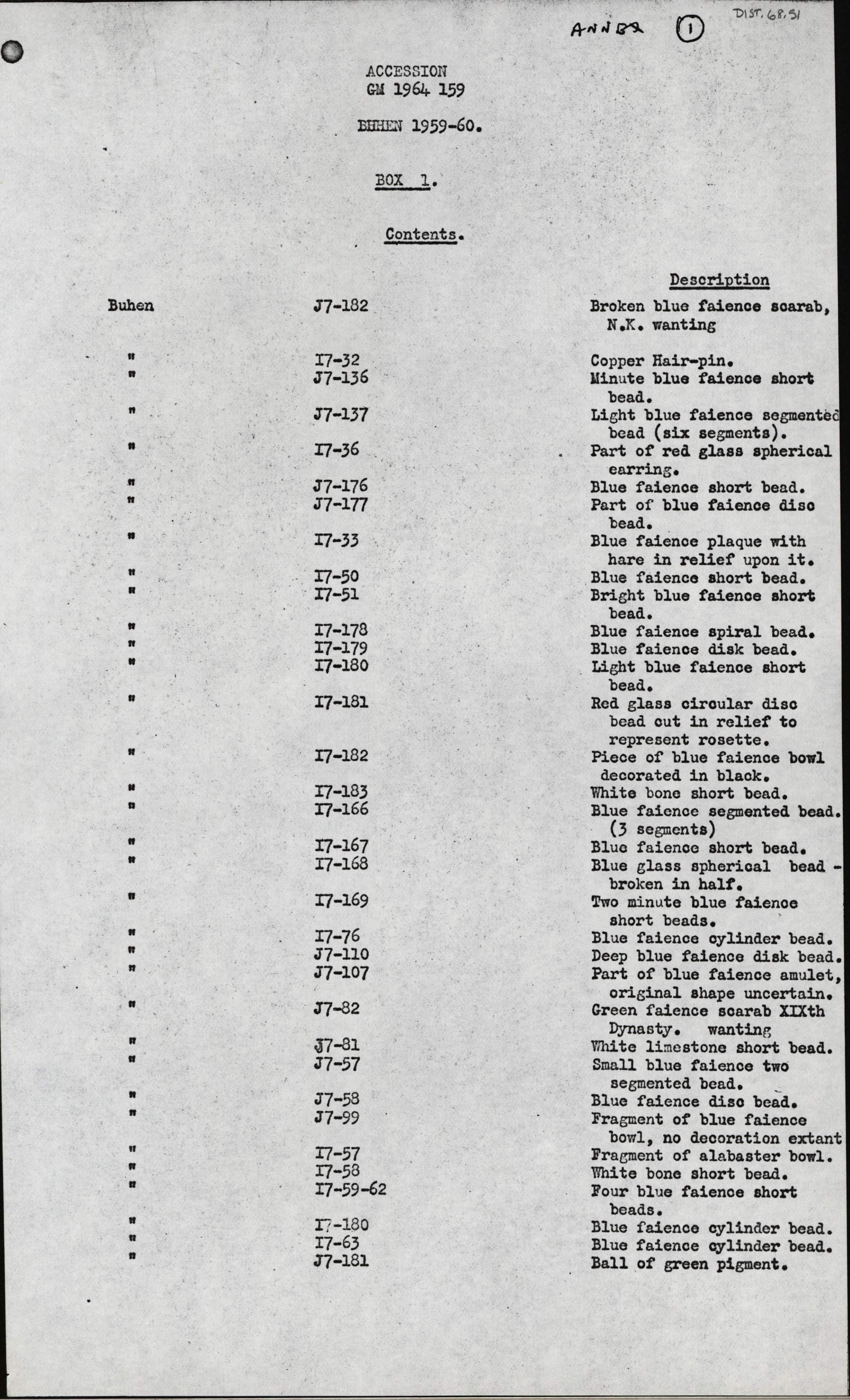 1959-74 Buhen DIST.68.51a
