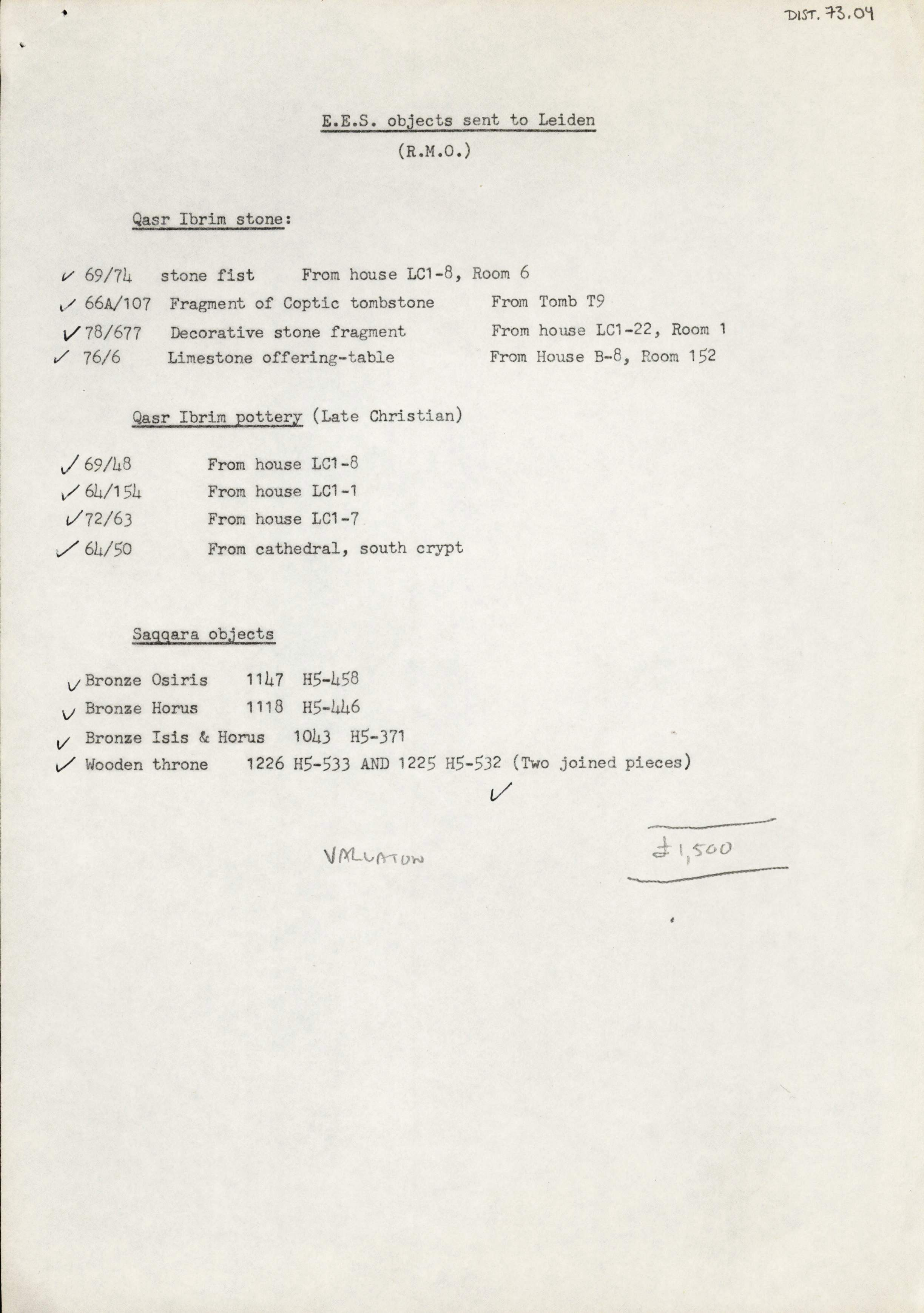 1979-84 Qasr Ibrim, Saqqara and Amarna DIST.73.04