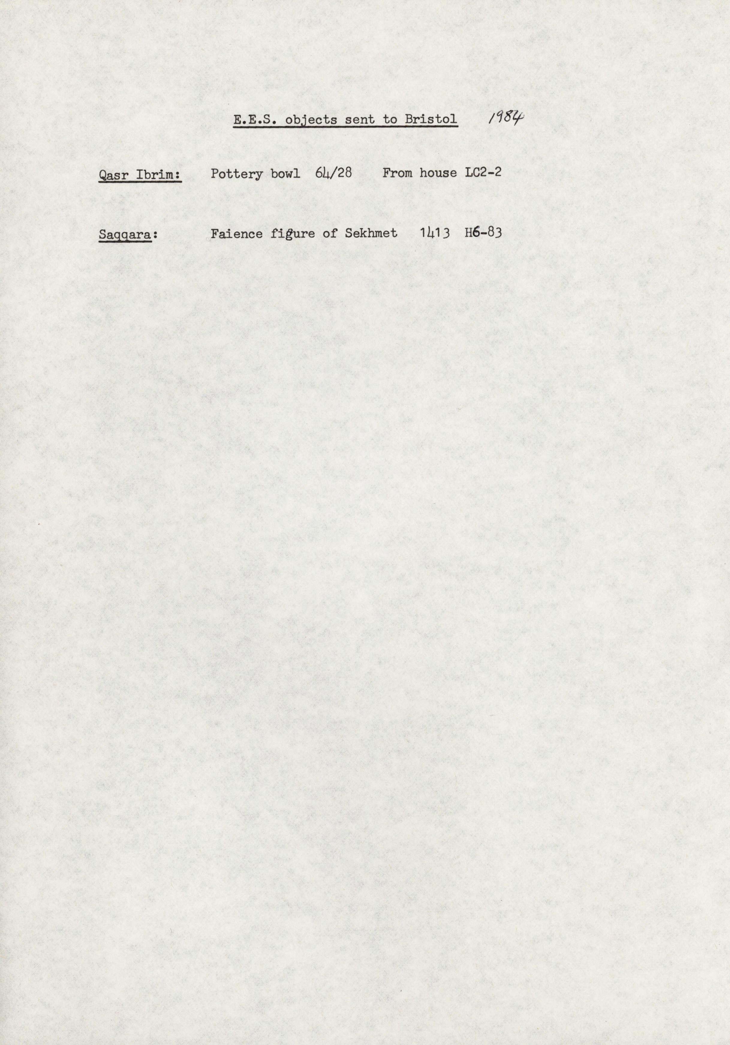 1979-84 Qasr Ibrim, Saqqara and Amarna DIST.73.06e
