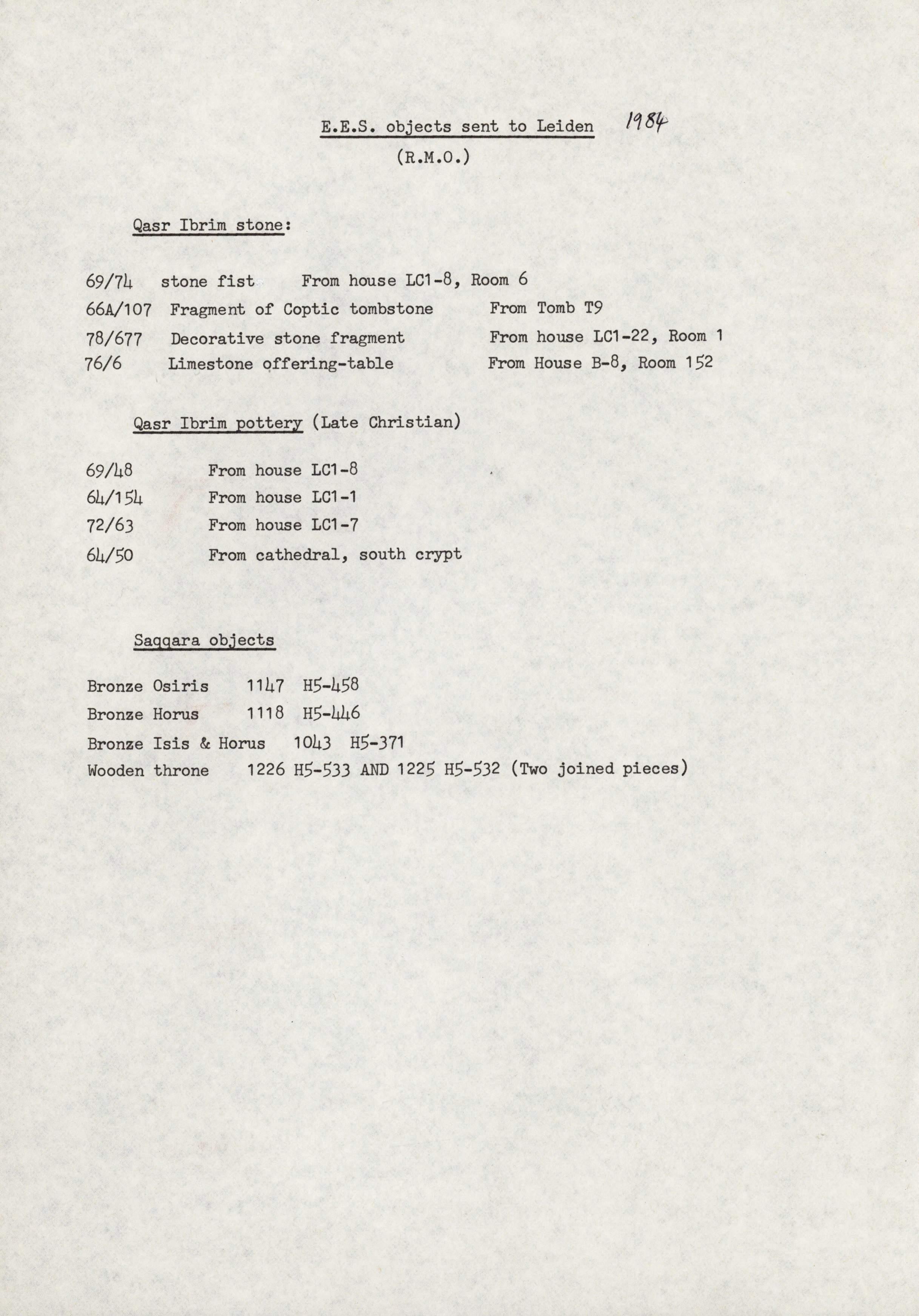 1979-84 Qasr Ibrim, Saqqara and Amarna DIST.73.06g