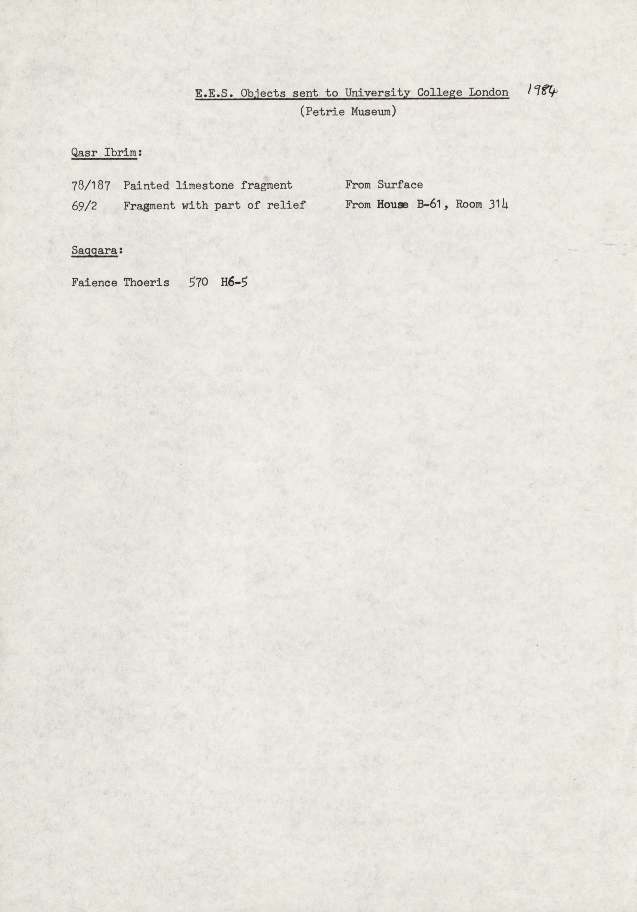 1979-84 Qasr Ibrim, Saqqara and Amarna DIST.73.06j