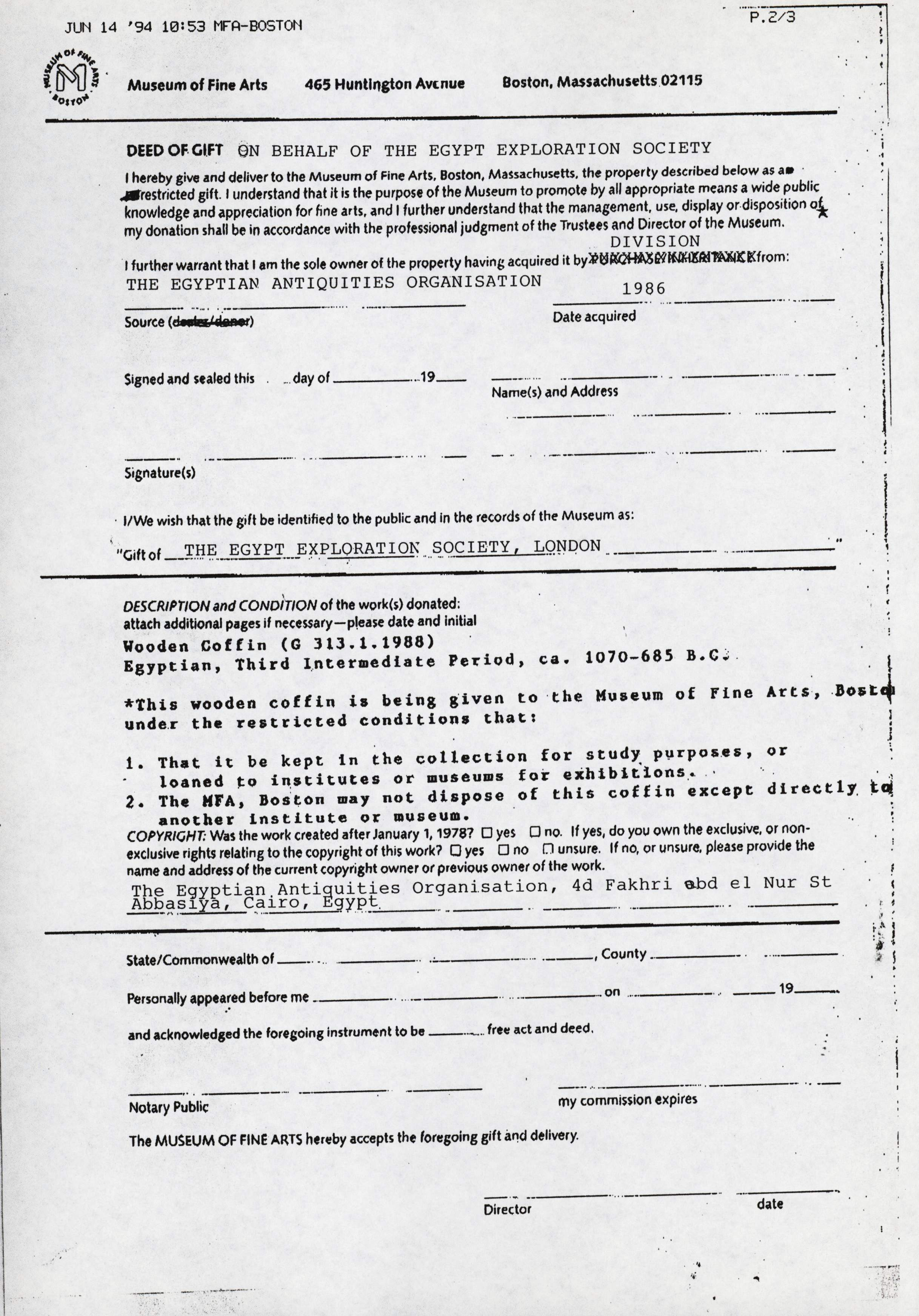 1986-2001 Saqqara, Qasr Ibrim and Memphis DIST.74.11c
