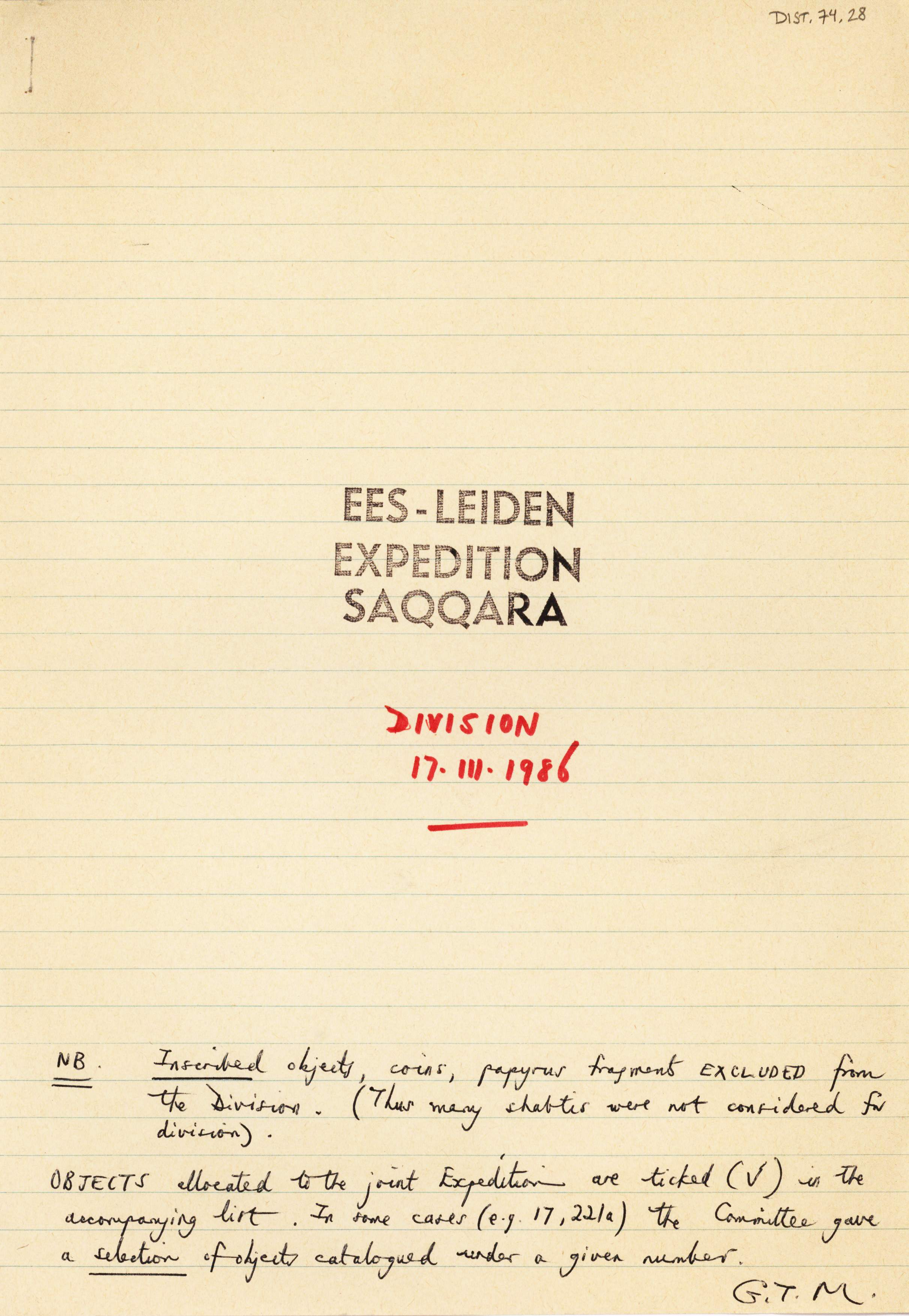 1986-2001 Saqqara, Qasr Ibrim and Memphis DIST.74.28a