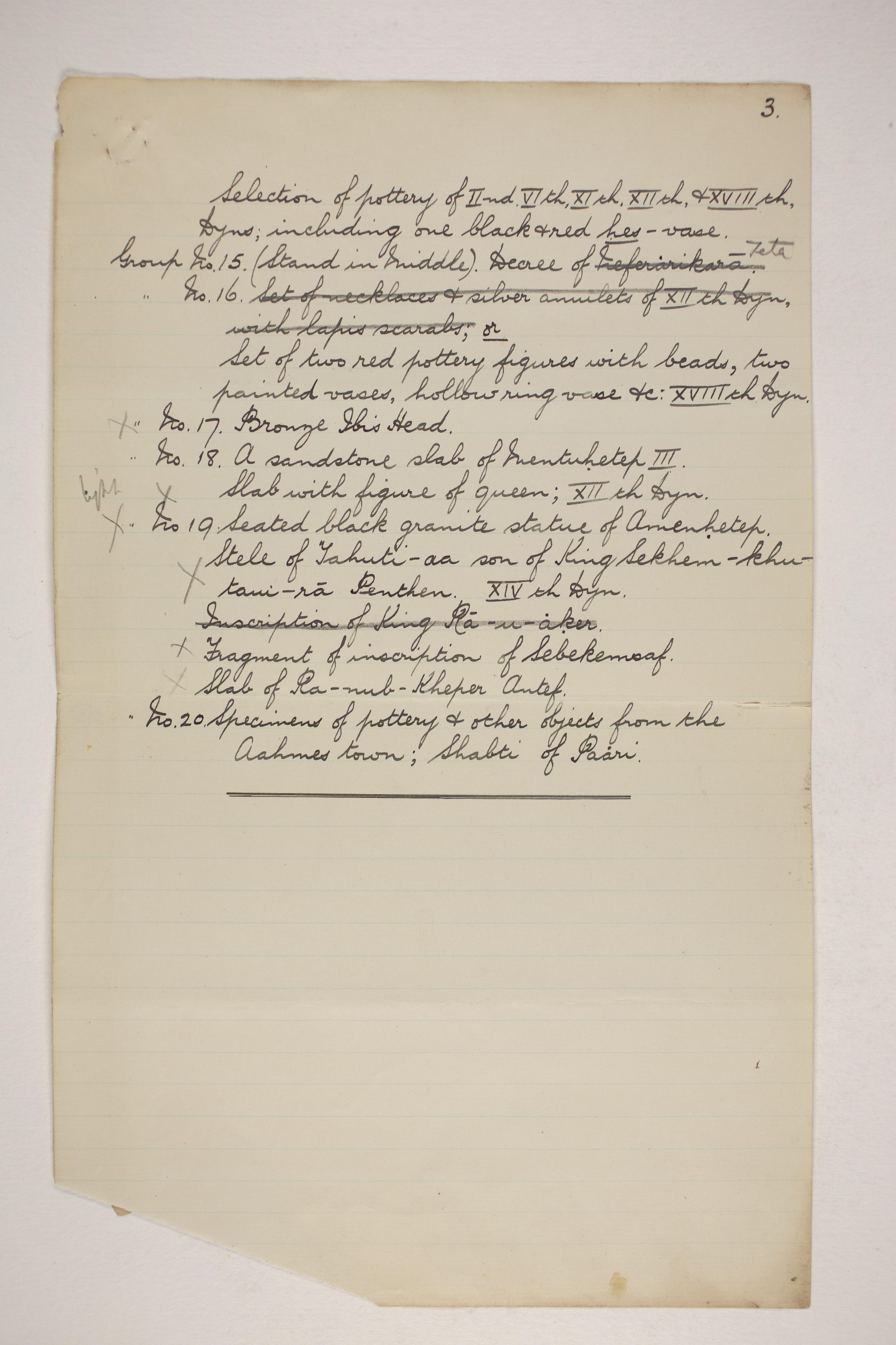 1902-03 Abydos Object list PMA/WFP1/D/11/67.3