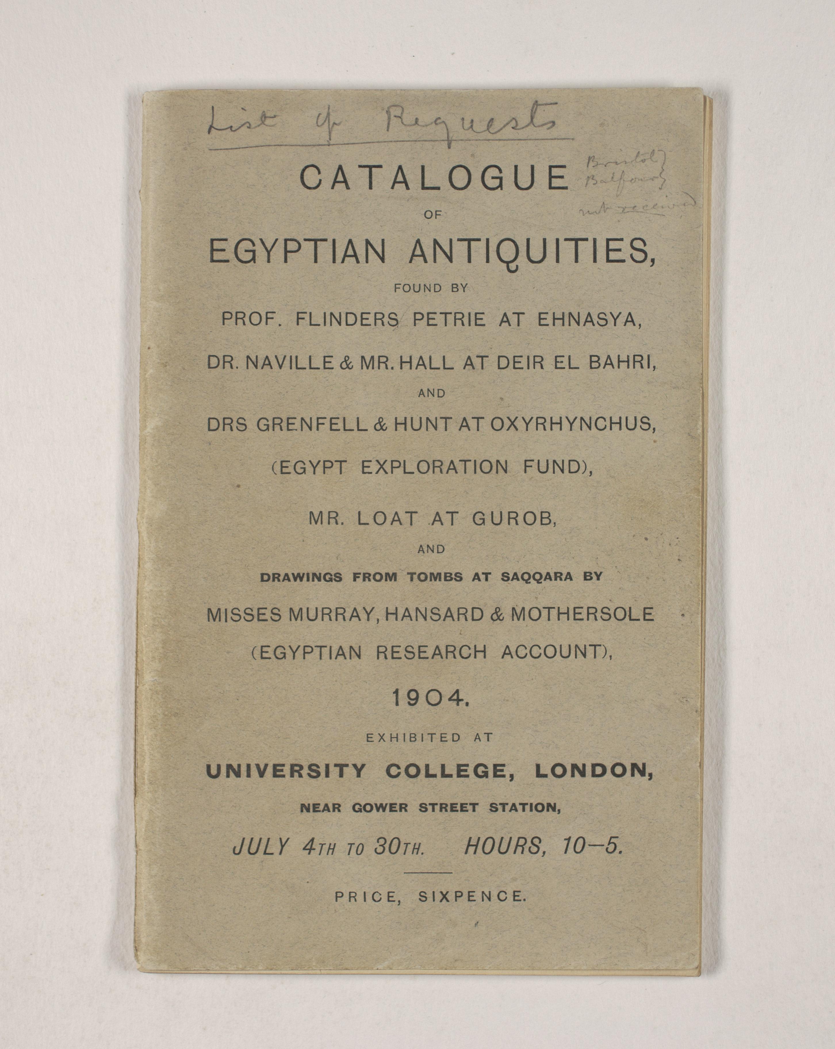 1903-04 Abydos, Ihnasya, Tell el-Fara'in, Saqqara, Gurob, Deir el-Bahri, Oxyrhynchus Exhibition Catalogue PMA/WFP1/D/12/12.1