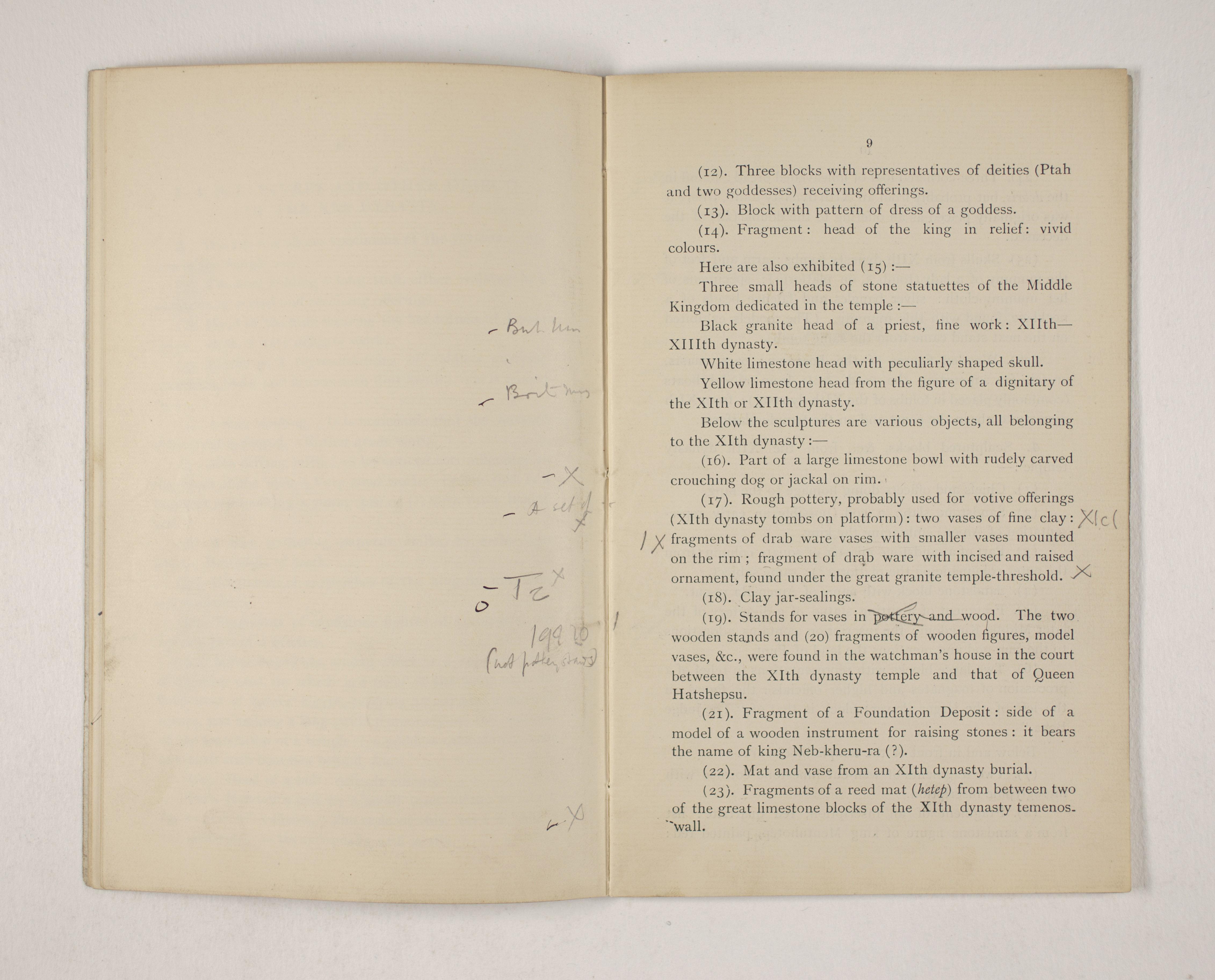1903-04 Abydos, Ihnasya, Tell el-Fara'in, Saqqara, Gurob, Deir el-Bahri, Oxyrhynchus Exhibition Catalogue PMA/WFP1/D/12/12.11