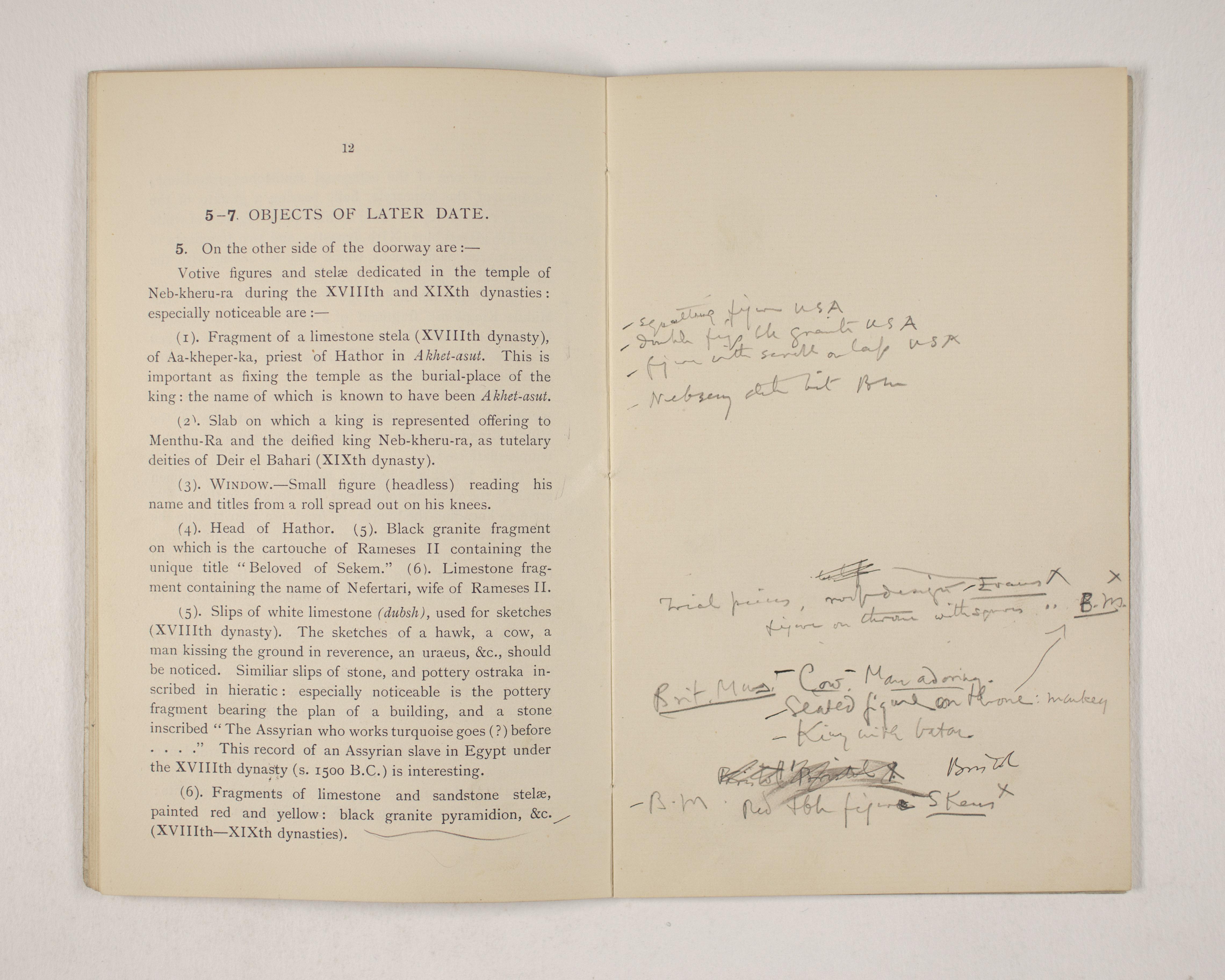 1903-04 Abydos, Ihnasya, Tell el-Fara'in, Saqqara, Gurob, Deir el-Bahri, Oxyrhynchus Exhibition Catalogue PMA/WFP1/D/12/12.14