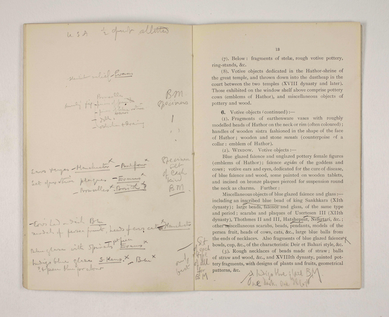 1903-04 Abydos, Ihnasya, Tell el-Fara'in, Saqqara, Gurob, Deir el-Bahri, Oxyrhynchus Exhibition Catalogue PMA/WFP1/D/12/12.15