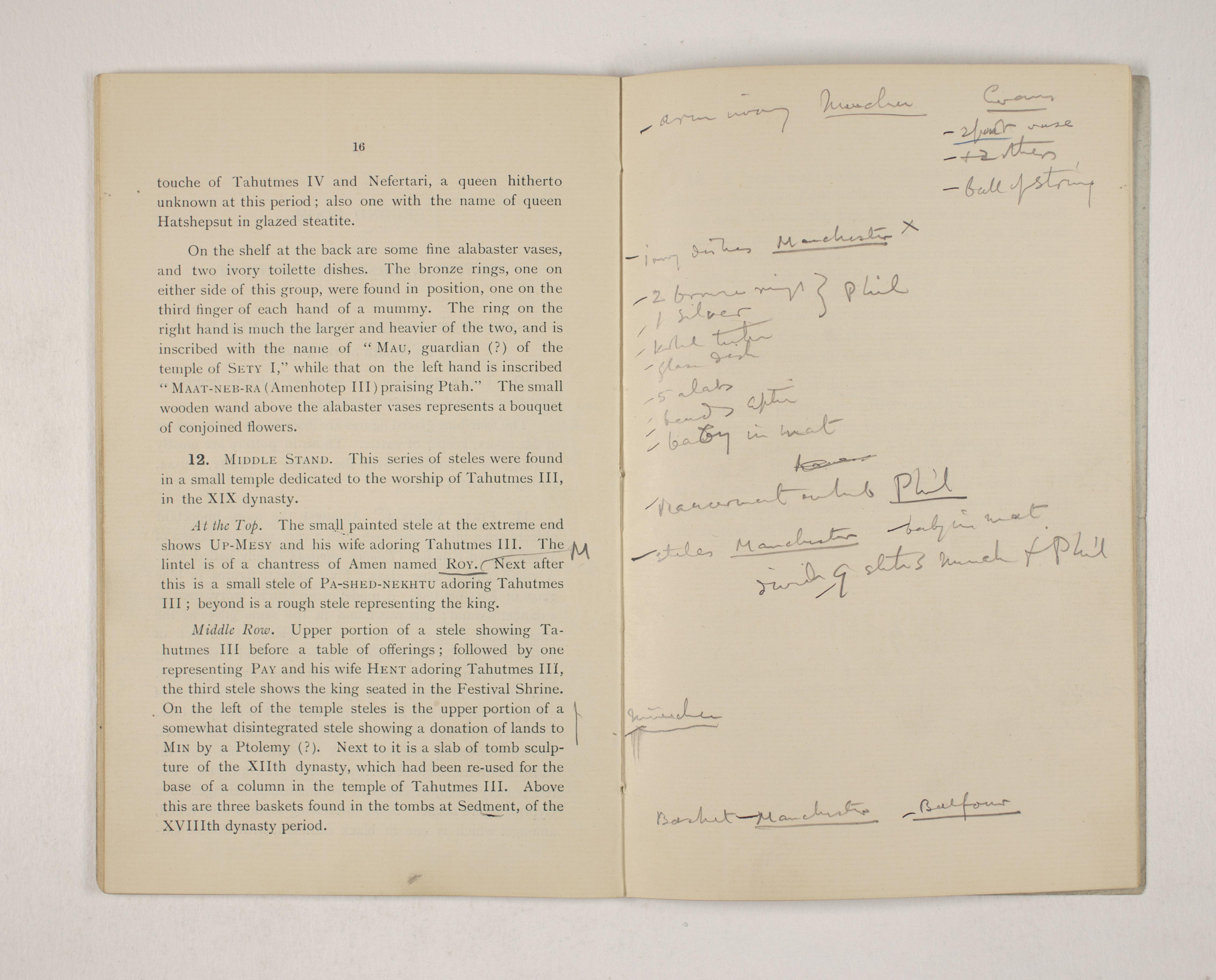 1903-04 Abydos, Ihnasya, Tell el-Fara'in, Saqqara, Gurob, Deir el-Bahri, Oxyrhynchus Exhibition Catalogue PMA/WFP1/D/12/12.18