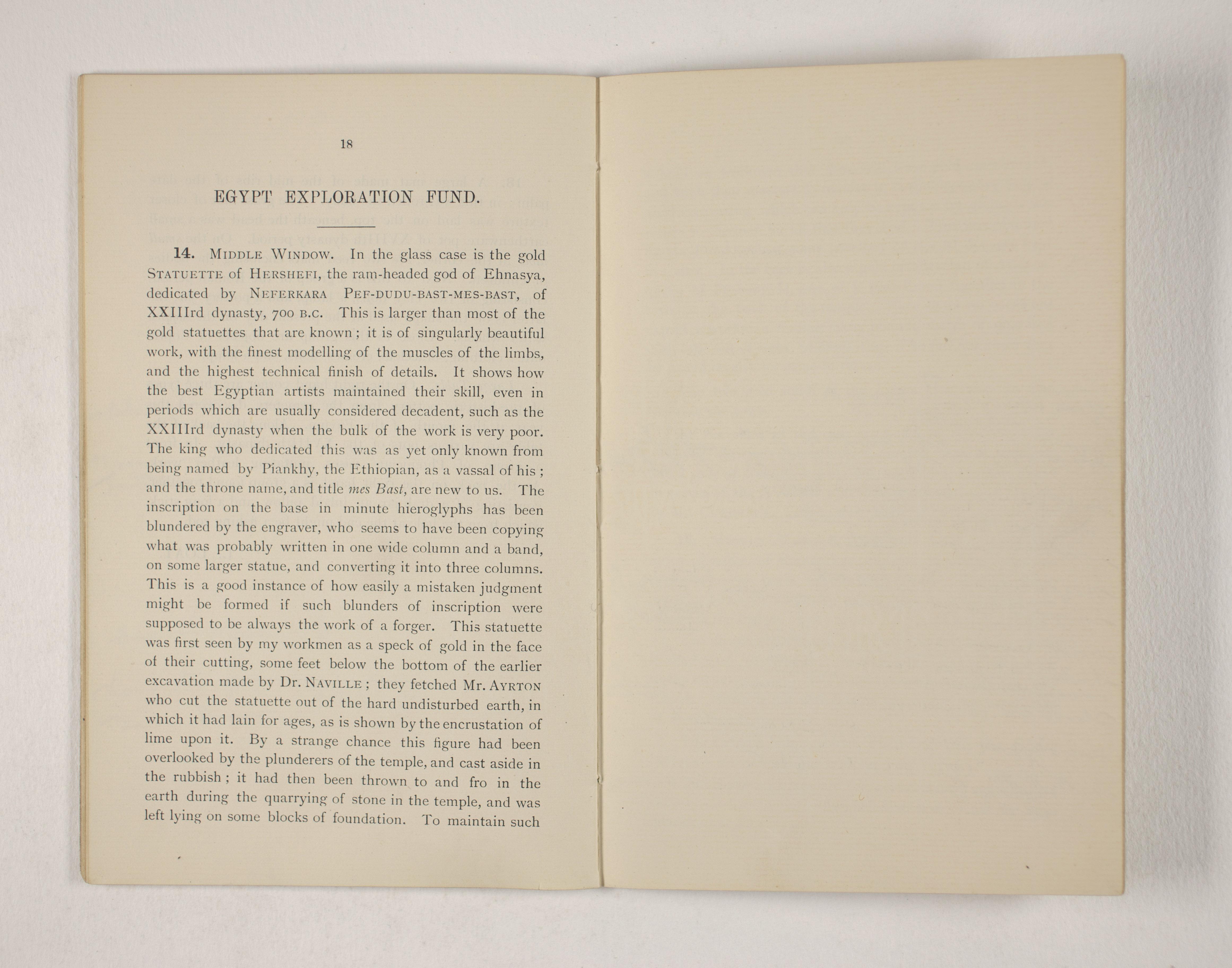 1903-04 Abydos, Ihnasya, Tell el-Fara'in, Saqqara, Gurob, Deir el-Bahri, Oxyrhynchus Exhibition Catalogue PMA/WFP1/D/12/12.20