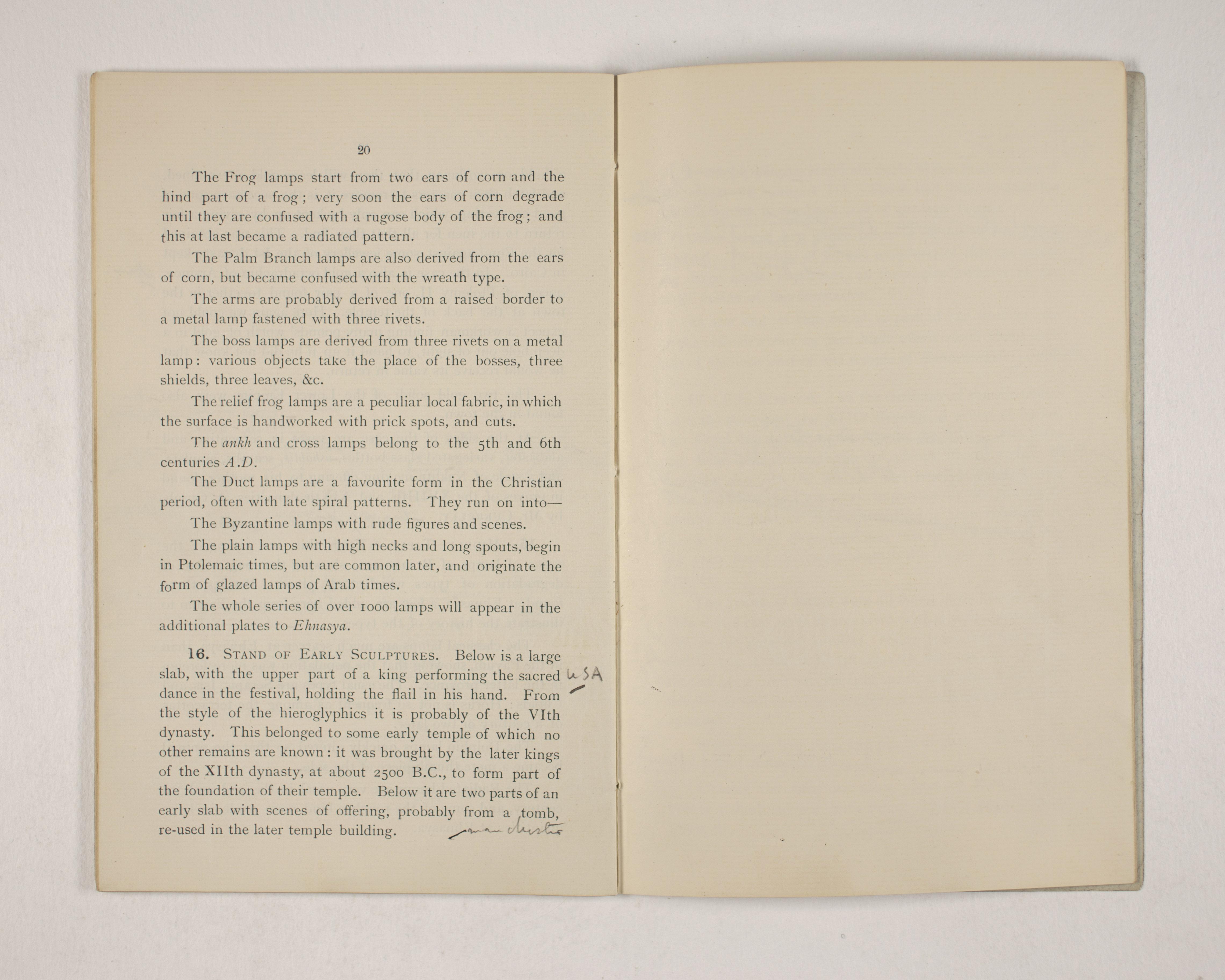 1903-04 Abydos, Ihnasya, Tell el-Fara'in, Saqqara, Gurob, Deir el-Bahri, Oxyrhynchus Exhibition Catalogue PMA/WFP1/D/12/12.22