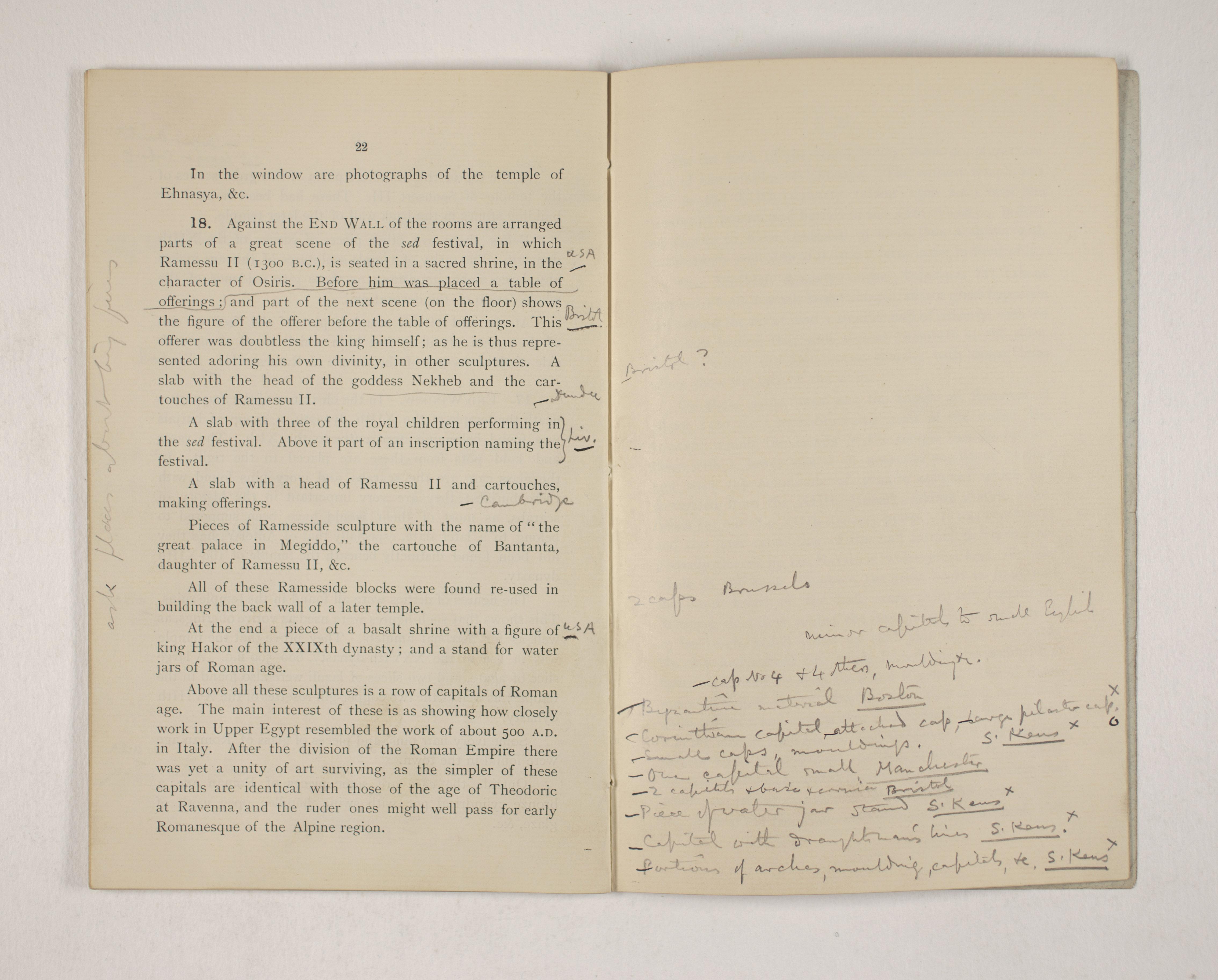 1903-04 Abydos, Ihnasya, Tell el-Fara'in, Saqqara, Gurob, Deir el-Bahri, Oxyrhynchus Exhibition Catalogue PMA/WFP1/D/12/12.23