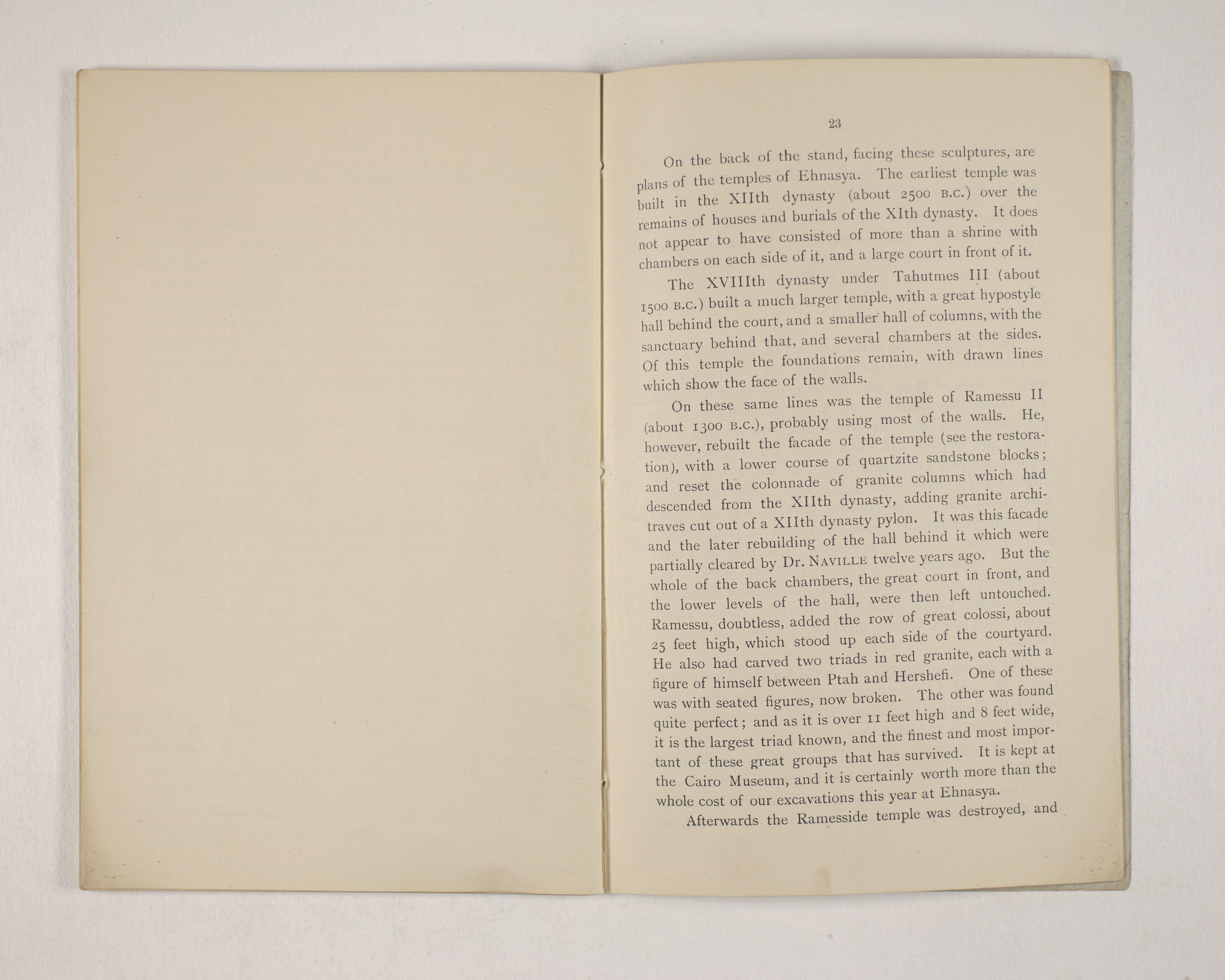 1903-04 Abydos, Ihnasya, Tell el-Fara'in, Saqqara, Gurob, Deir el-Bahri, Oxyrhynchus Exhibition Catalogue PMA/WFP1/D/12/12.25