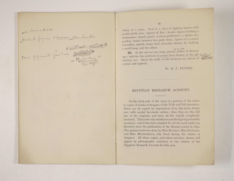 1903-04 Abydos, Ihnasya, Tell el-Fara'in, Saqqara, Gurob, Deir el-Bahri, Oxyrhynchus Exhibition Catalogue PMA/WFP1/D/12/12.27