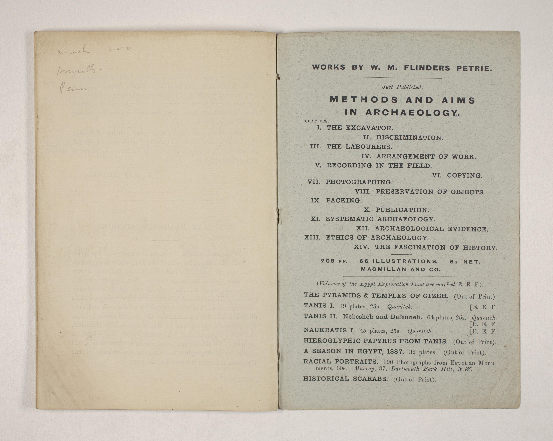 1903-04 Abydos, Ihnasya, Tell el-Fara'in, Saqqara, Gurob, Deir el-Bahri, Oxyrhynchus Exhibition Catalogue PMA/WFP1/D/12/12.28
