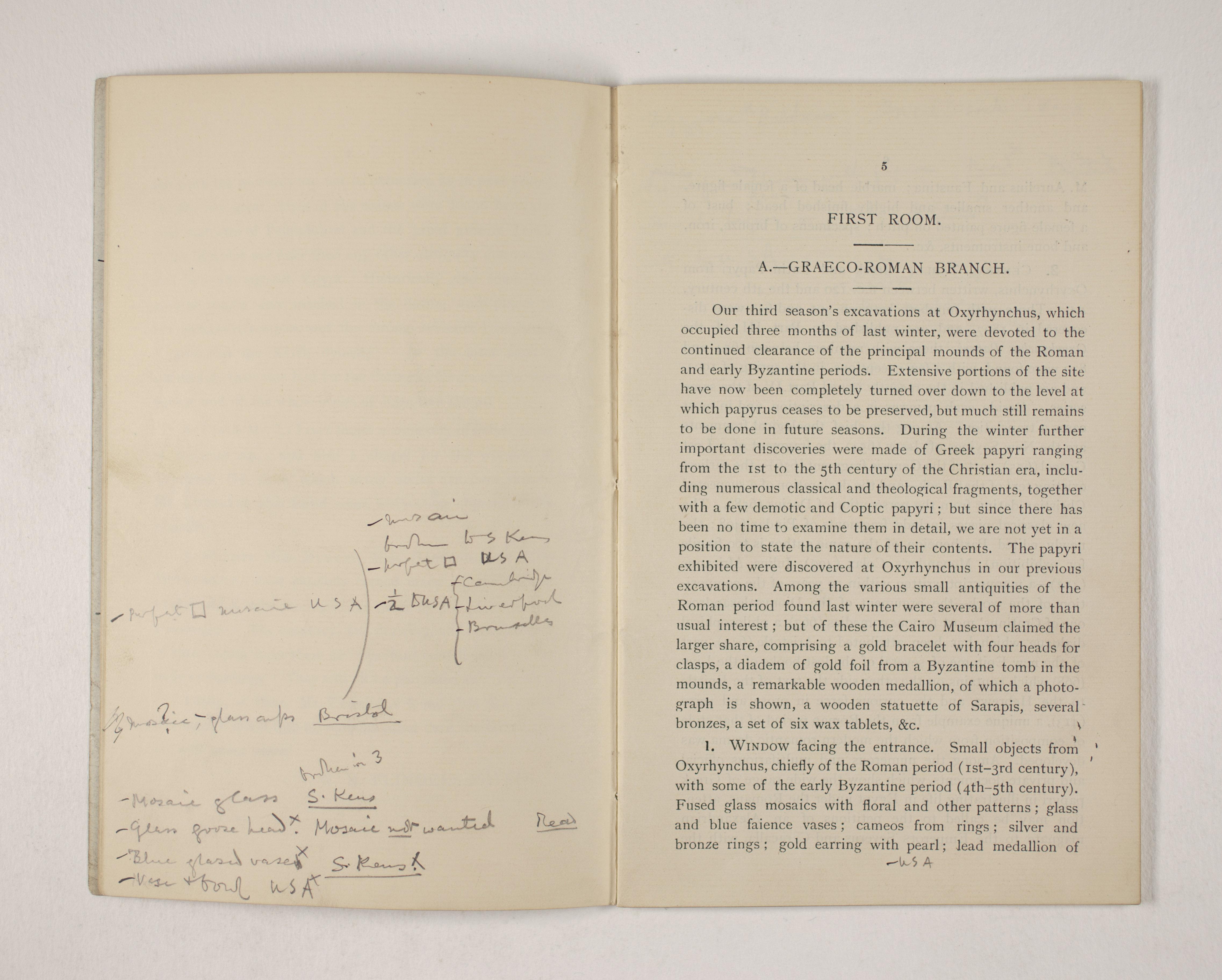 1903-04 Abydos, Ihnasya, Tell el-Fara'in, Saqqara, Gurob, Deir el-Bahri, Oxyrhynchus Exhibition Catalogue PMA/WFP1/D/12/12.7