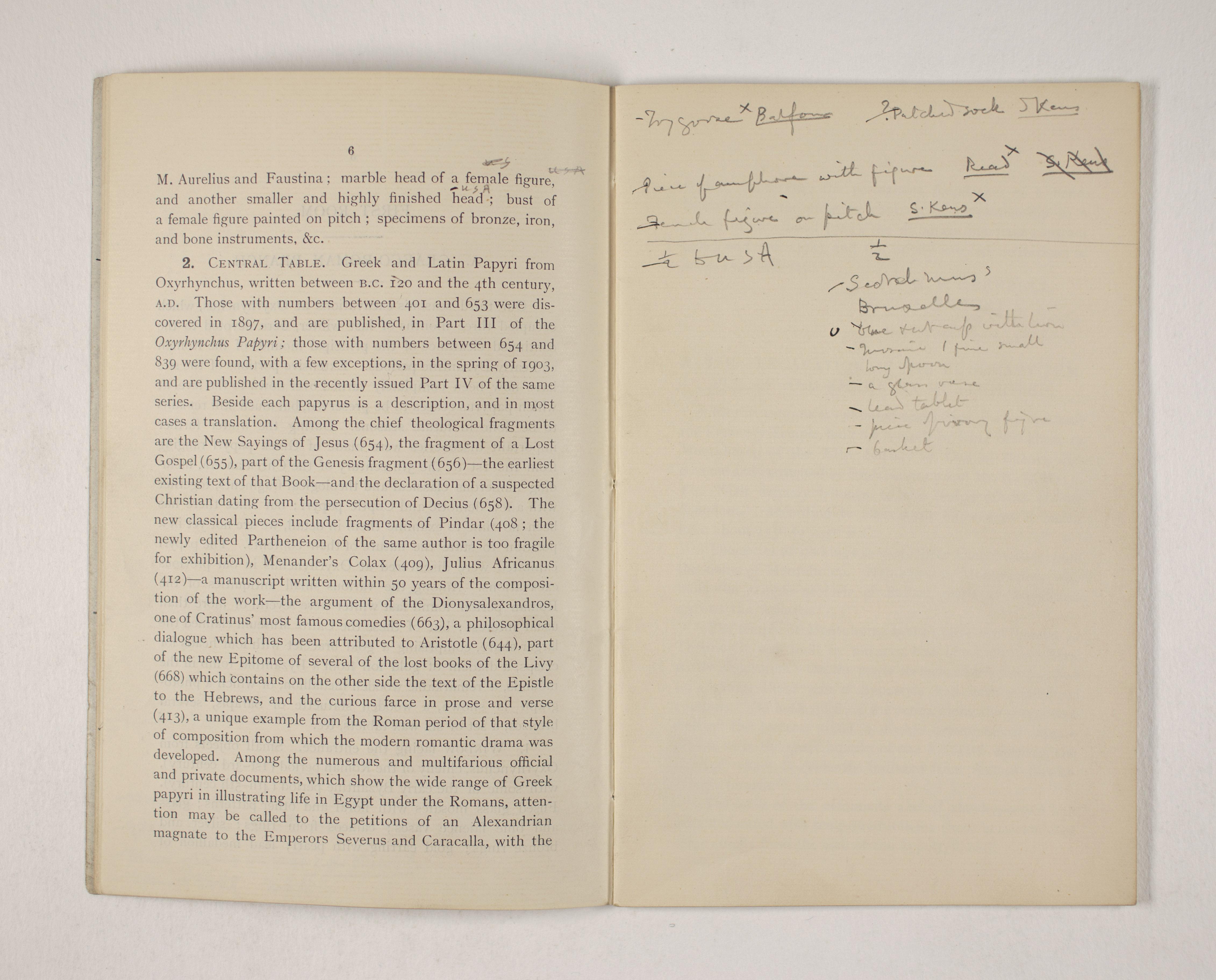 1903-04 Abydos, Ihnasya, Tell el-Fara'in, Saqqara, Gurob, Deir el-Bahri, Oxyrhynchus Exhibition Catalogue PMA/WFP1/D/12/12.8