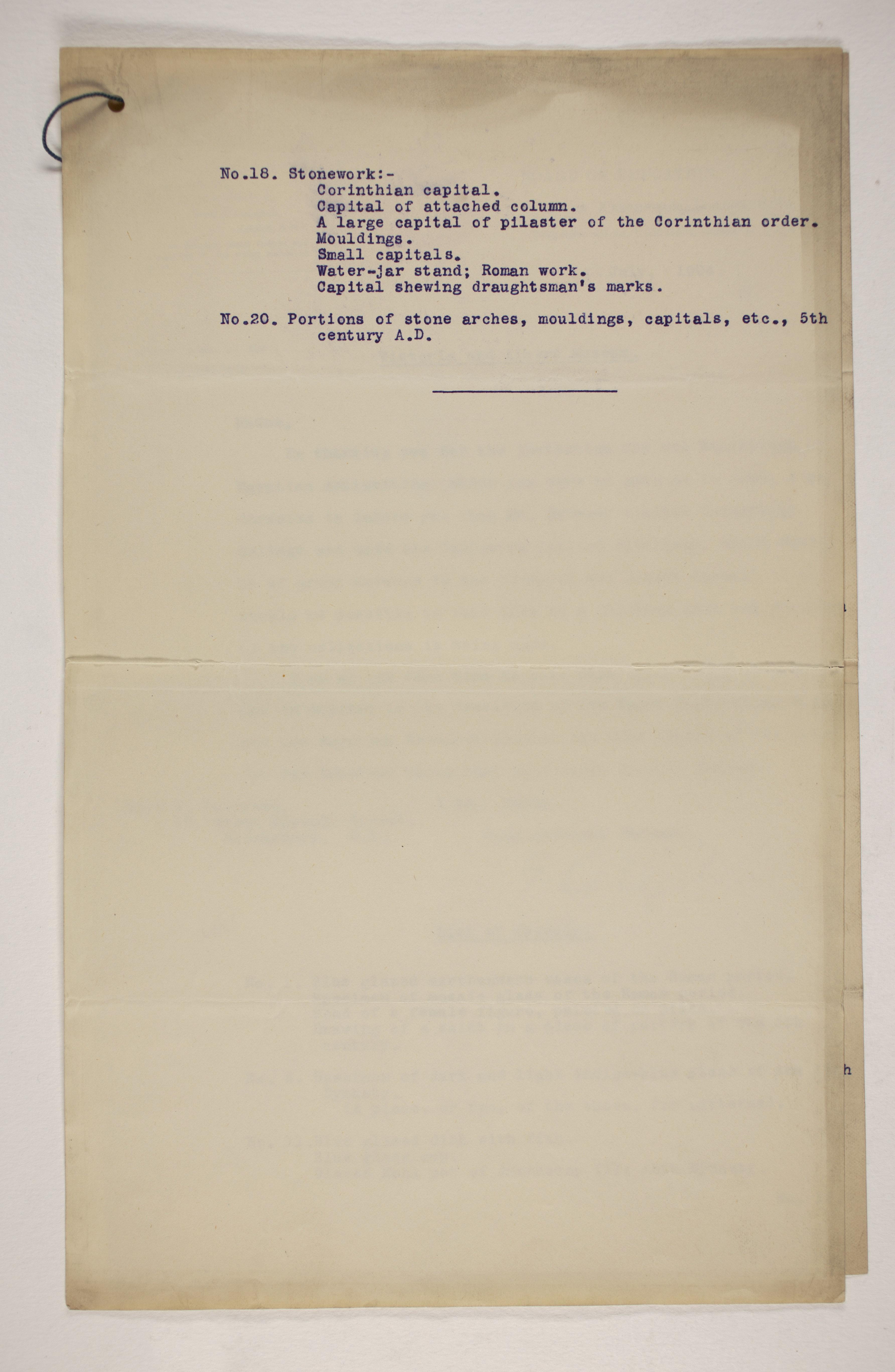1903-04 Abydos, Ihnasya, Tell el-Fara'in, Saqqara, Gurob, Deir el-Bahri, Oxyrhynchus Correspondence PMA/WFP1/D/12/7.2