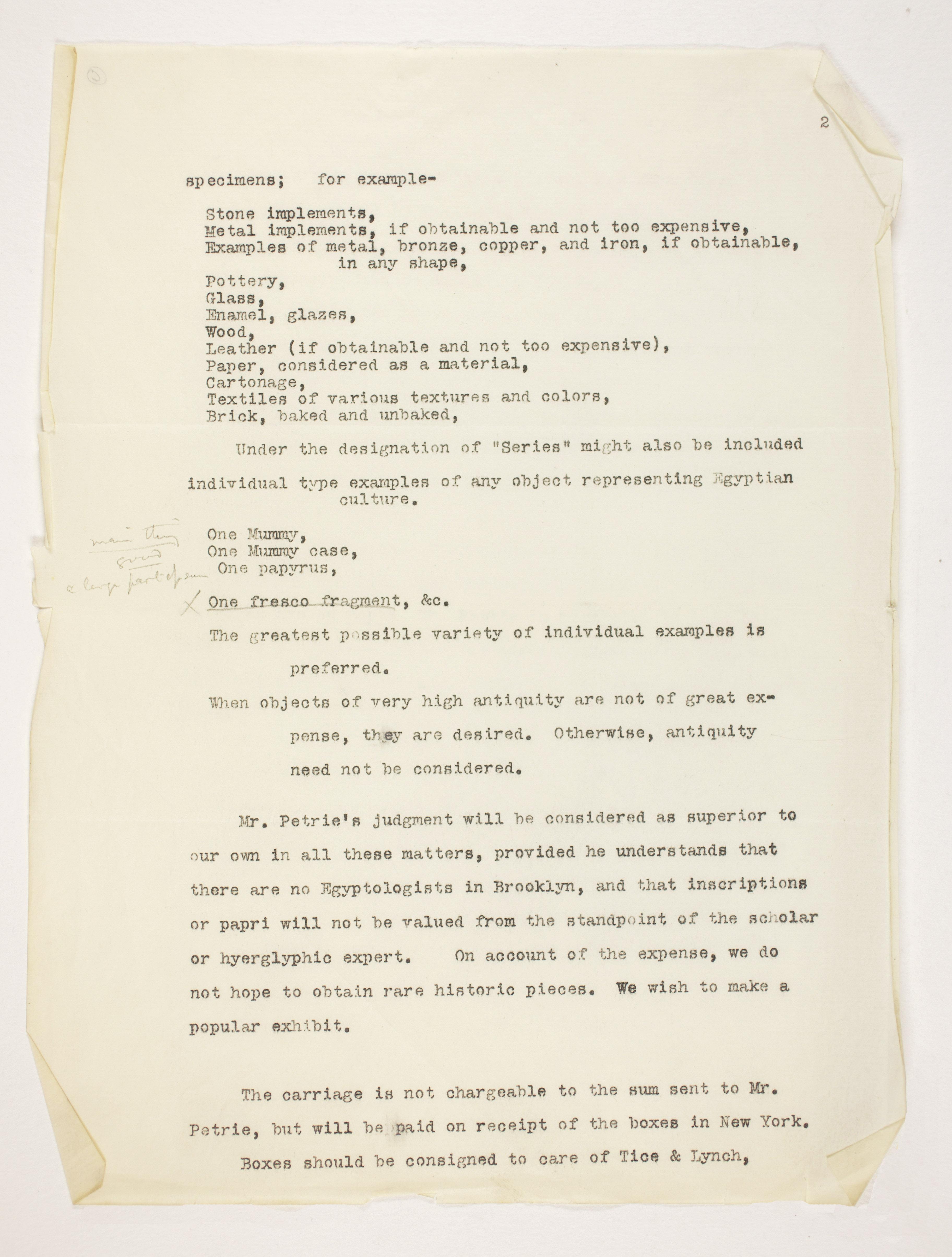 1904-05 Saqqara, Serabit el-Khadim, Sinai, Magharah, Sinai Correspondence PMA/WFP1/D/13/6