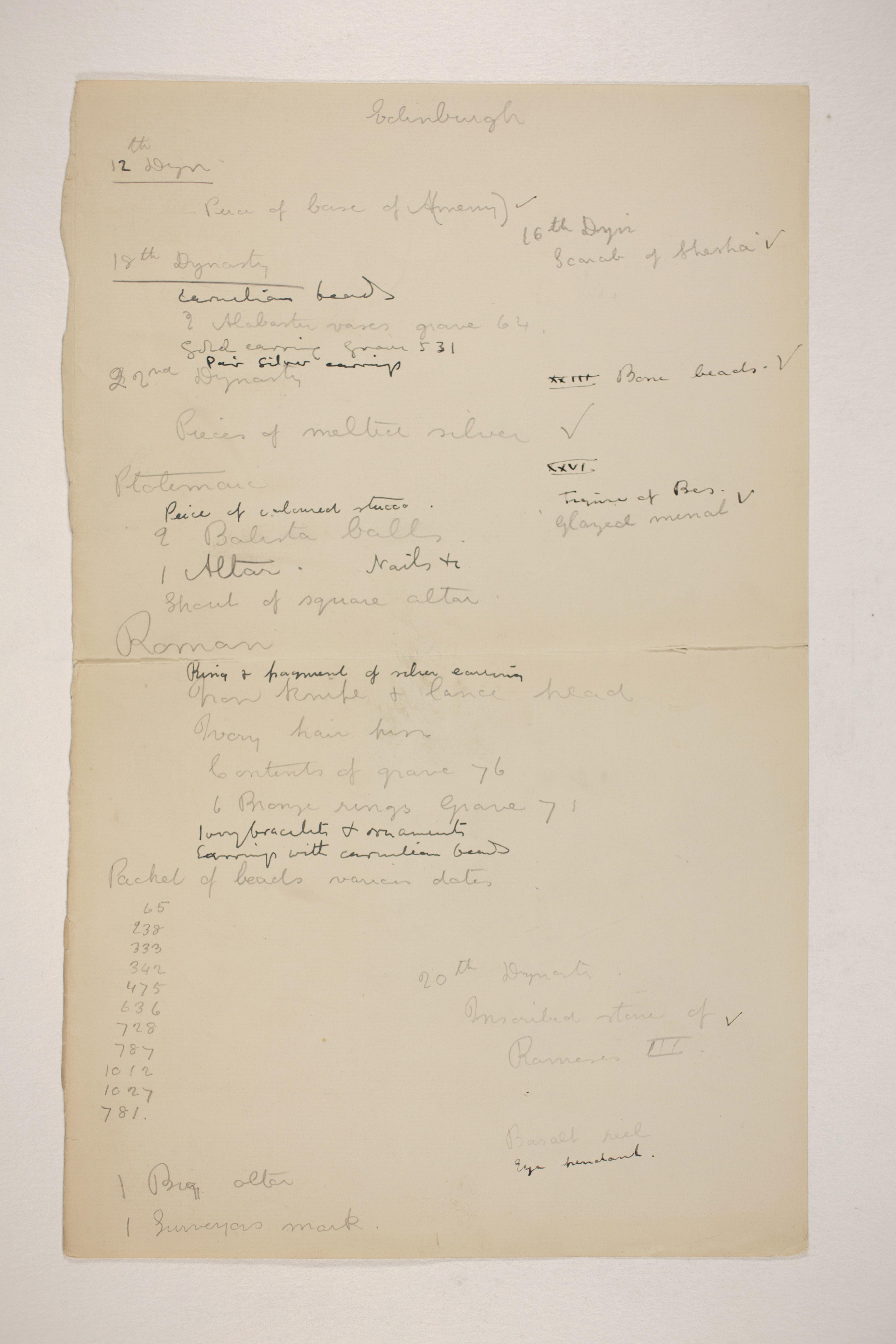 1905-06 Eastern Delta: Belbeis, Tell el-Rataba, Saft el-Hinna, Tell el-Yahudiya, Shaghanbeh, Ghita Individual institution list  PMA/WFP1/D/14/10