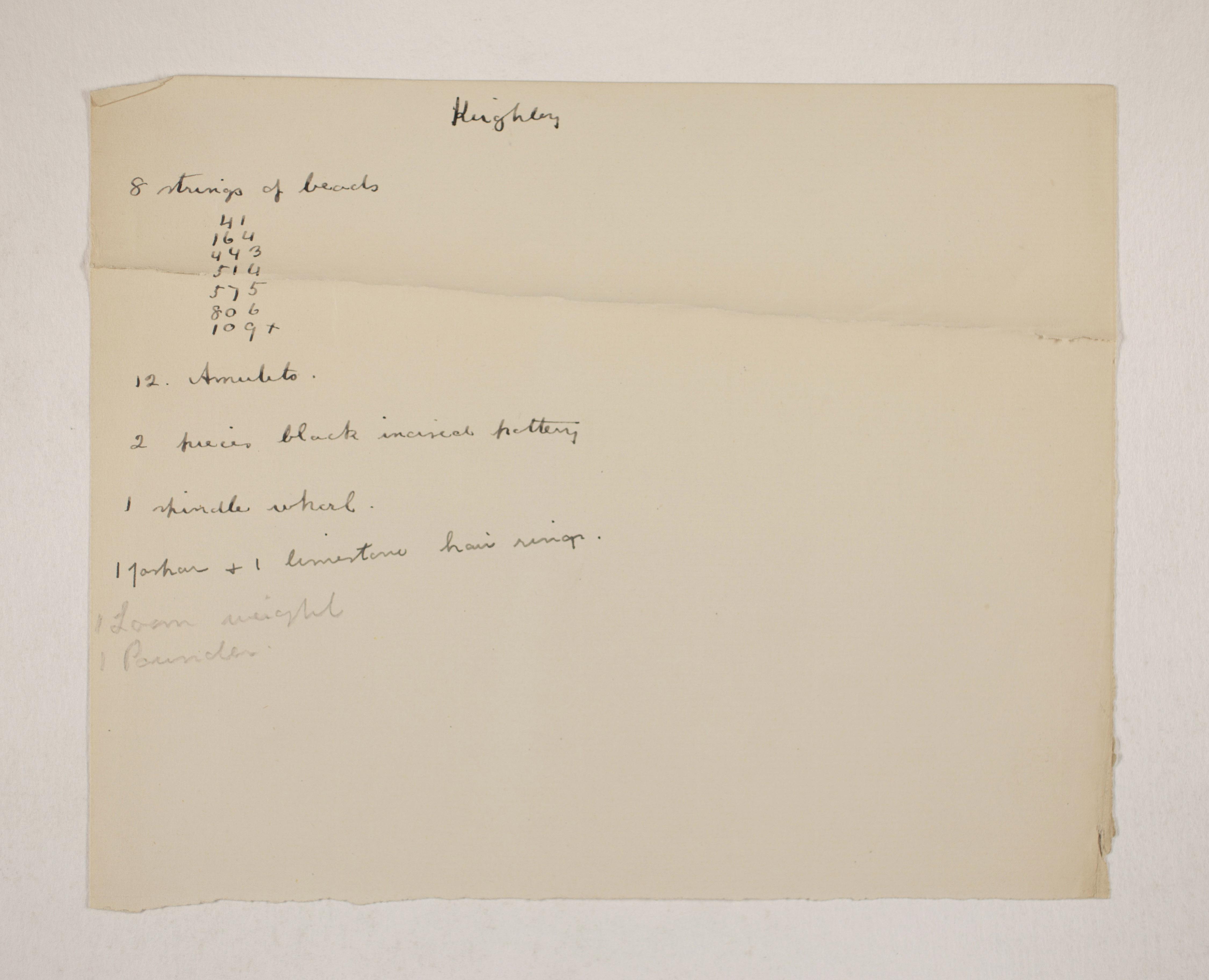 1905-06 Eastern Delta: Belbeis, Tell el-Rataba, Saft el-Hinna, Tell el-Yahudiya, Shaghanbeh, Ghita Individual institution list  PMA/WFP1/D/14/11