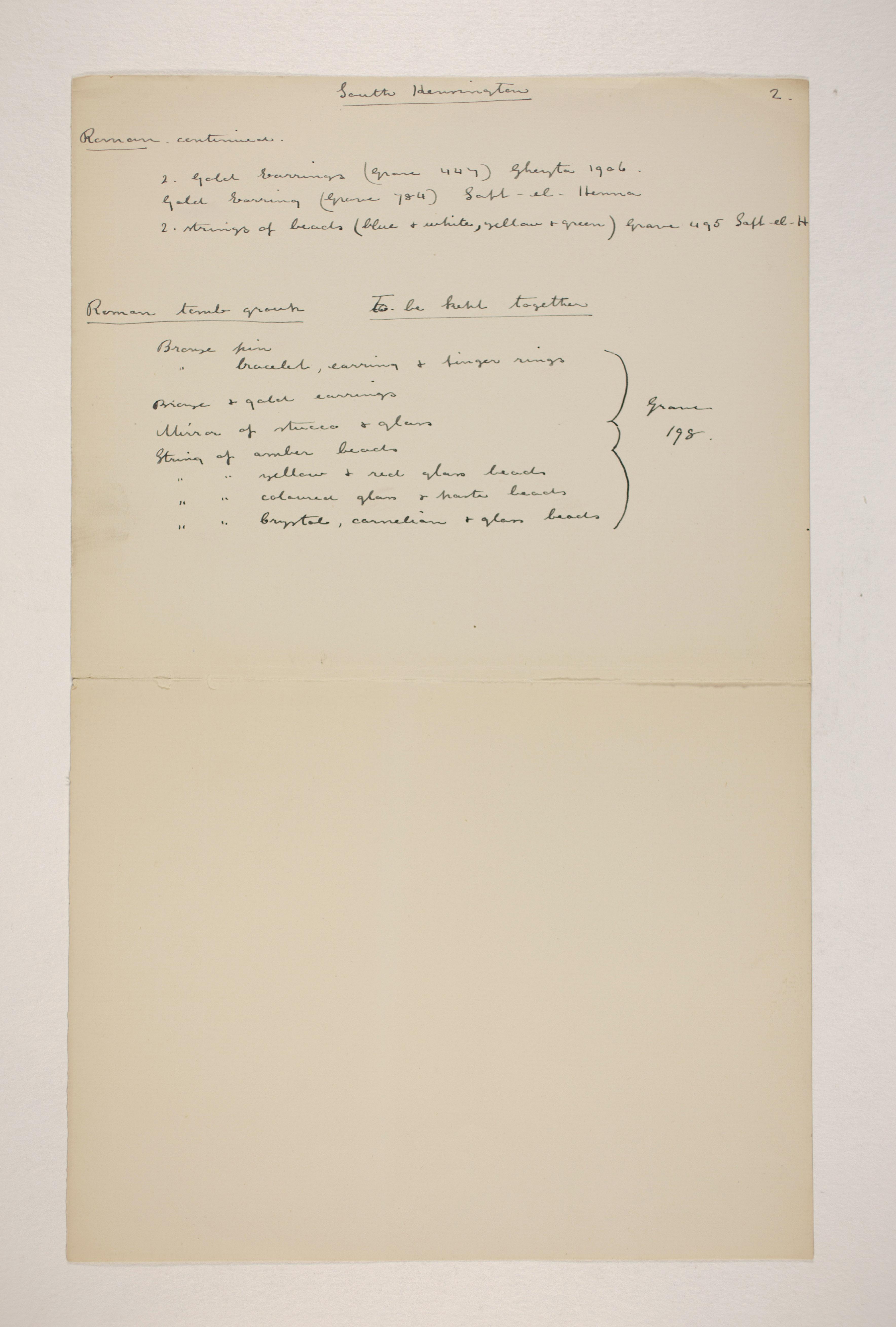 1905-06 Eastern Delta: Belbeis, Tell el-Rataba, Saft el-Hinna, Tell el-Yahudiya, Shaghanbeh, Ghita Individual institution list  PMA/WFP1/D/14/15.2