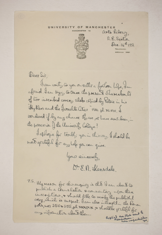 1905-06 Eastern Delta: Belbeis, Tell el-Rataba, Saft el-Hinna, Tell el-Yahudiya, Shaghanbeh, Ghita Correspondence PMA/WFP1/D/14/19