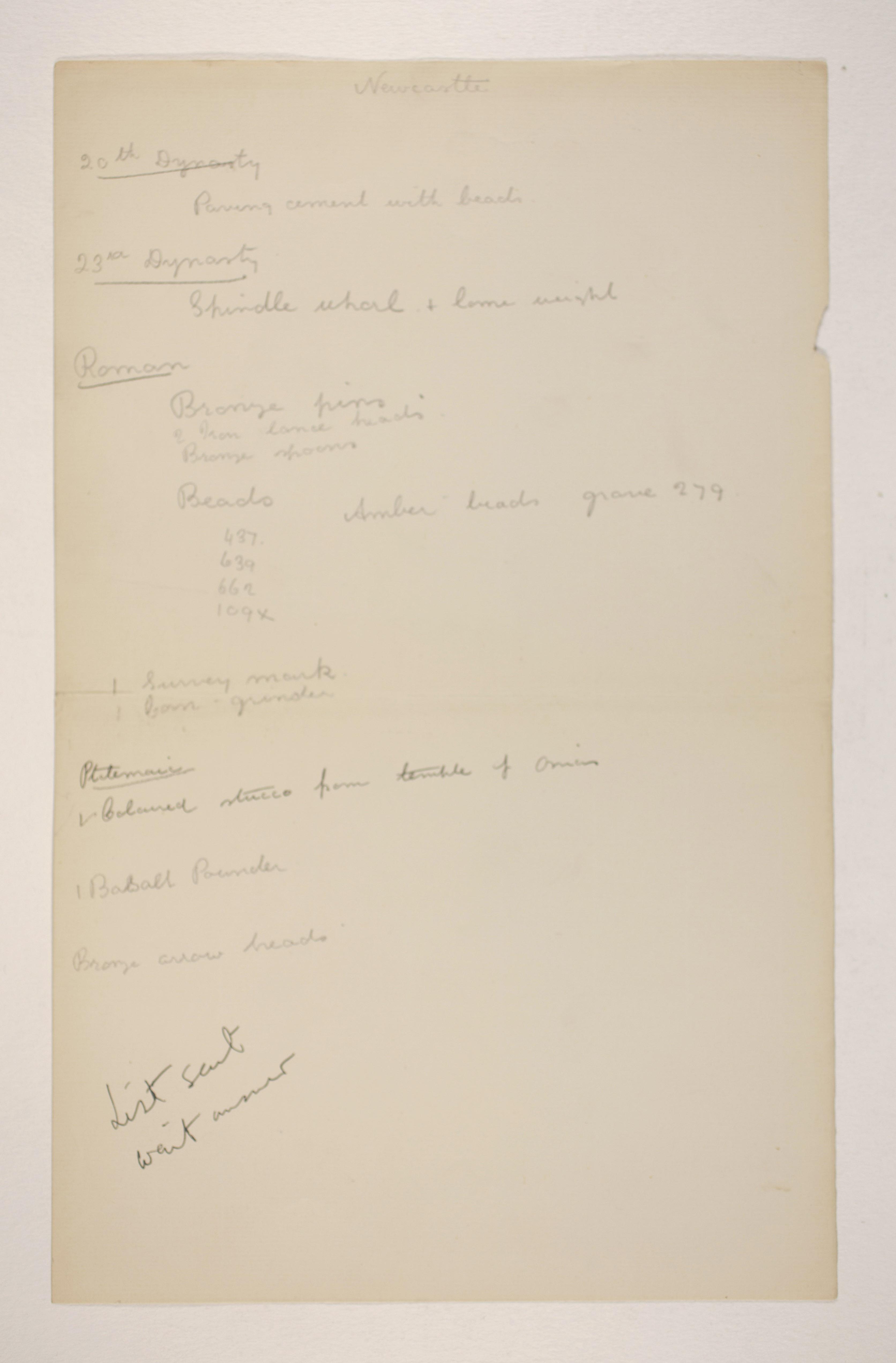 1905-06 Eastern Delta: Belbeis, Tell el-Rataba, Saft el-Hinna, Tell el-Yahudiya, Shaghanbeh, Ghita Individual institution list  PMA/WFP1/D/14/21