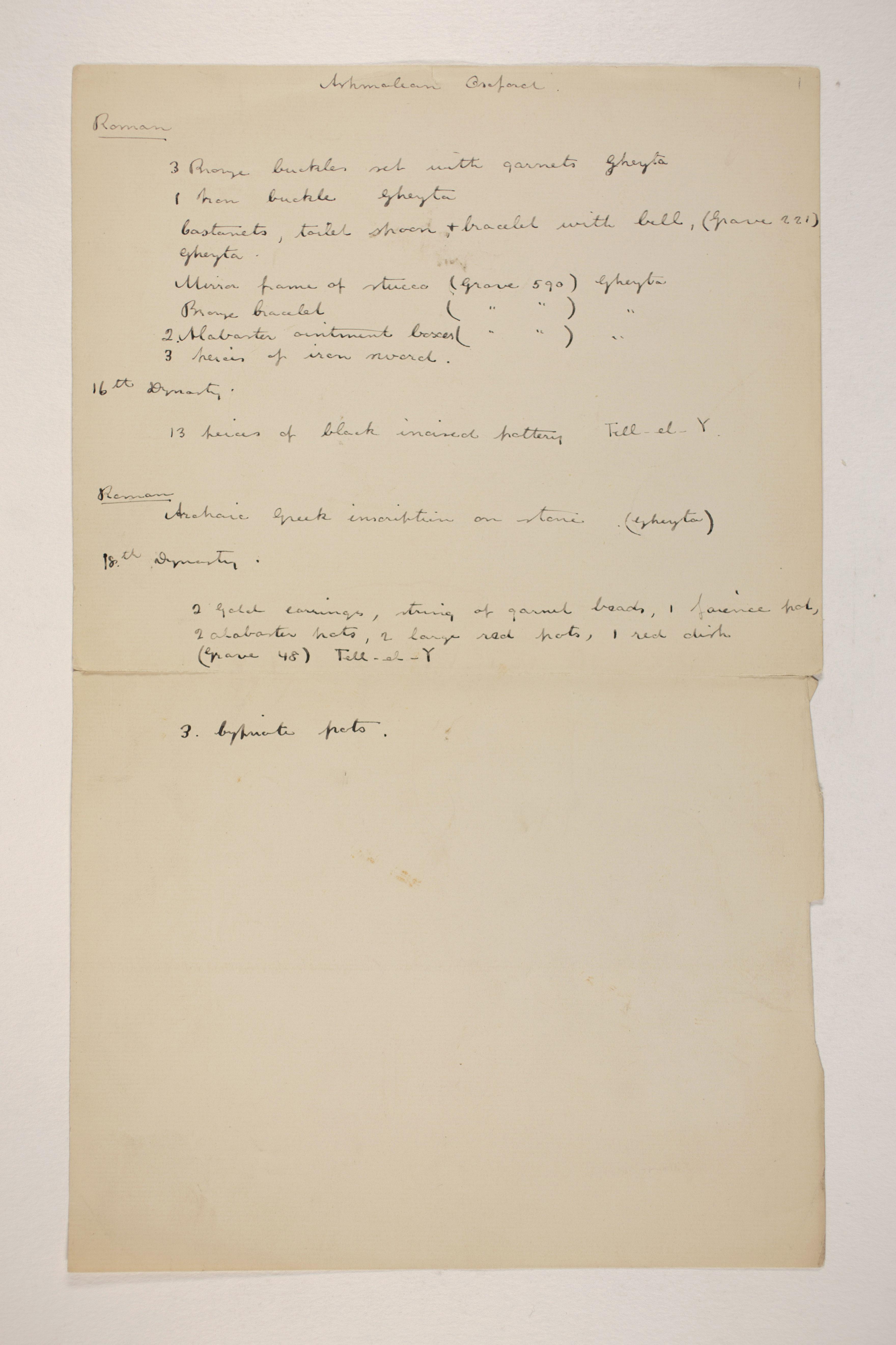 1905-06 Eastern Delta: Belbeis, Tell el-Rataba, Saft el-Hinna, Tell el-Yahudiya, Shaghanbeh, Ghita Individual institution list  PMA/WFP1/D/14/24