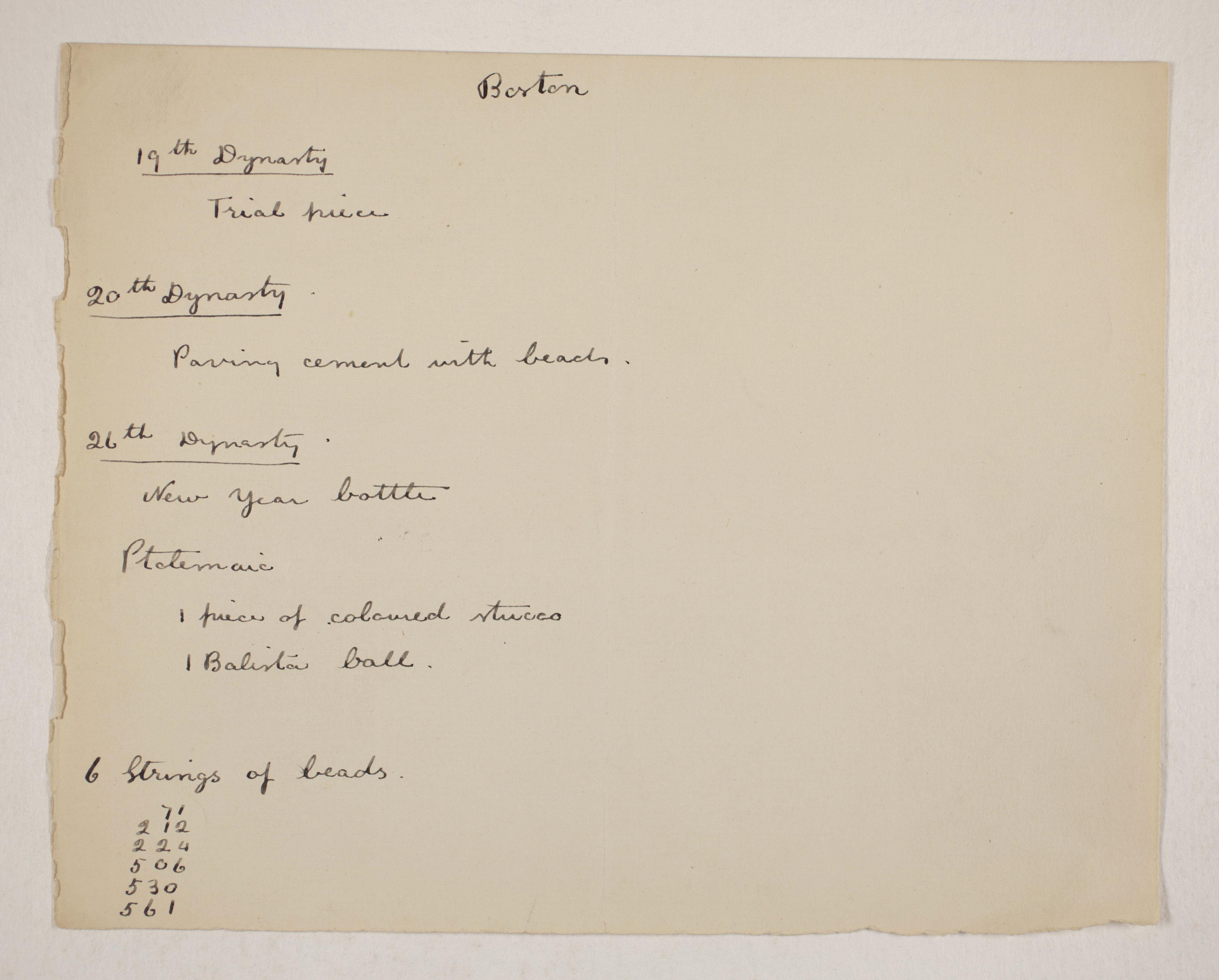 1905-06 Eastern Delta: Belbeis, Tell el-Rataba, Saft el-Hinna, Tell el-Yahudiya, Shaghanbeh, Ghita Individual institution list  PMA/WFP1/D/14/4