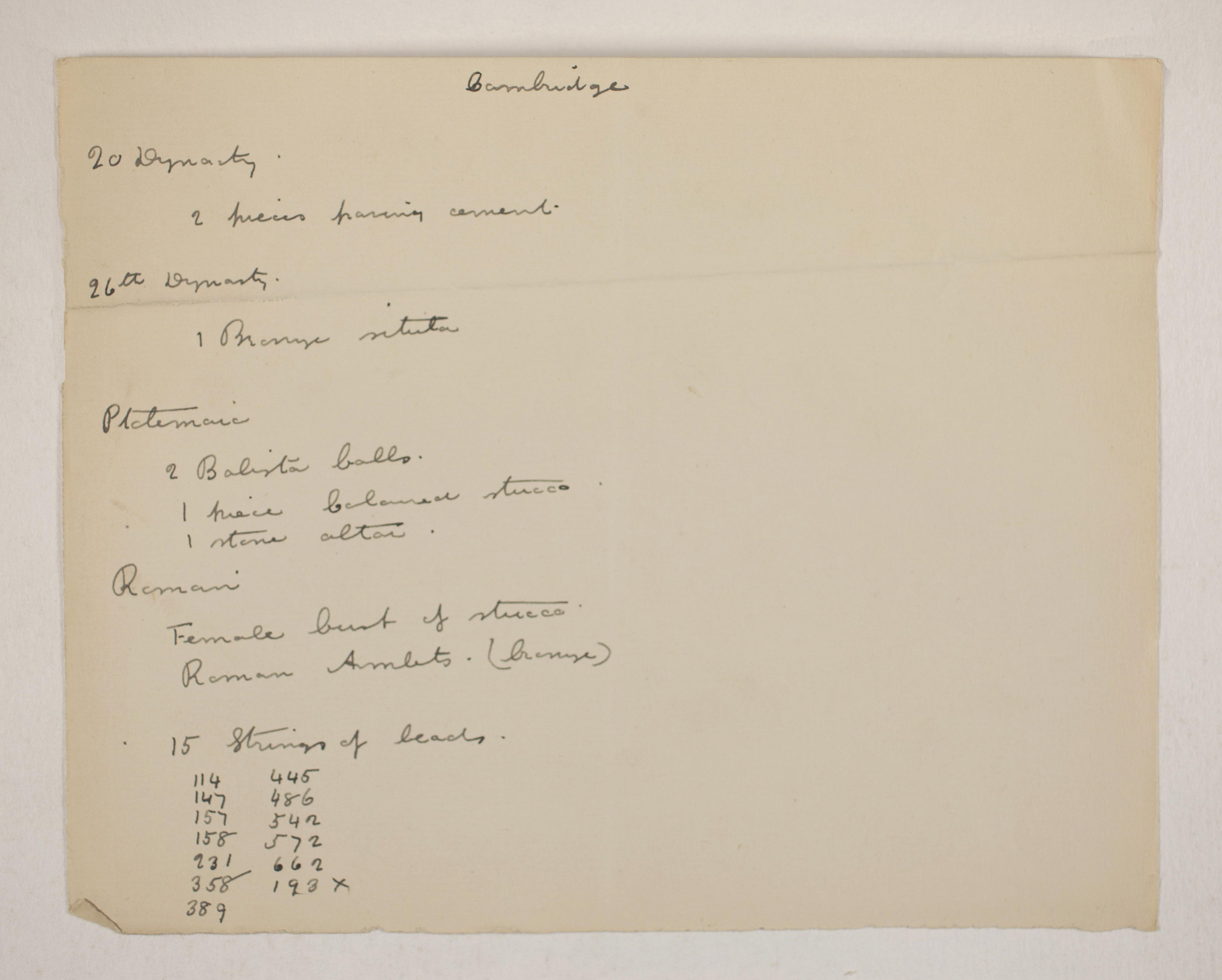 1905-06 Eastern Delta: Belbeis, Tell el-Rataba, Saft el-Hinna, Tell el-Yahudiya, Shaghanbeh, Ghita Individual institution list  PMA/WFP1/D/14/7