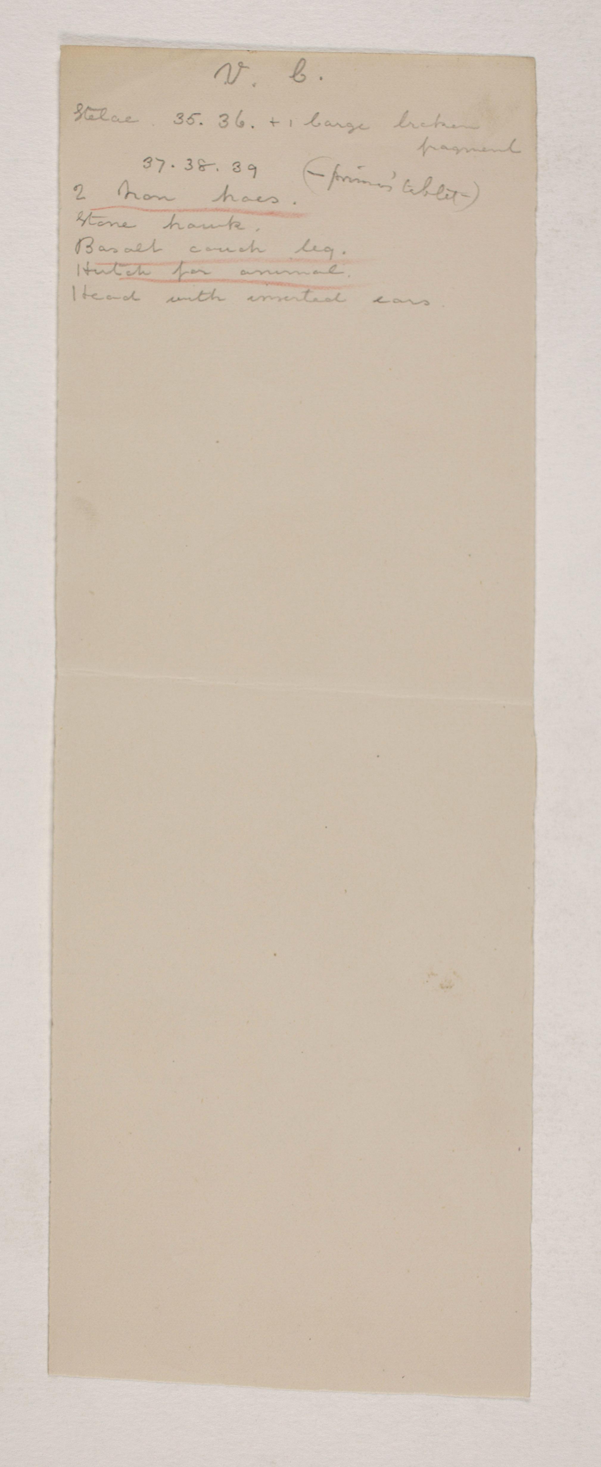 1907-08 Athribis, Memphis Individual institution list  PMA/WFP1/D/16/14