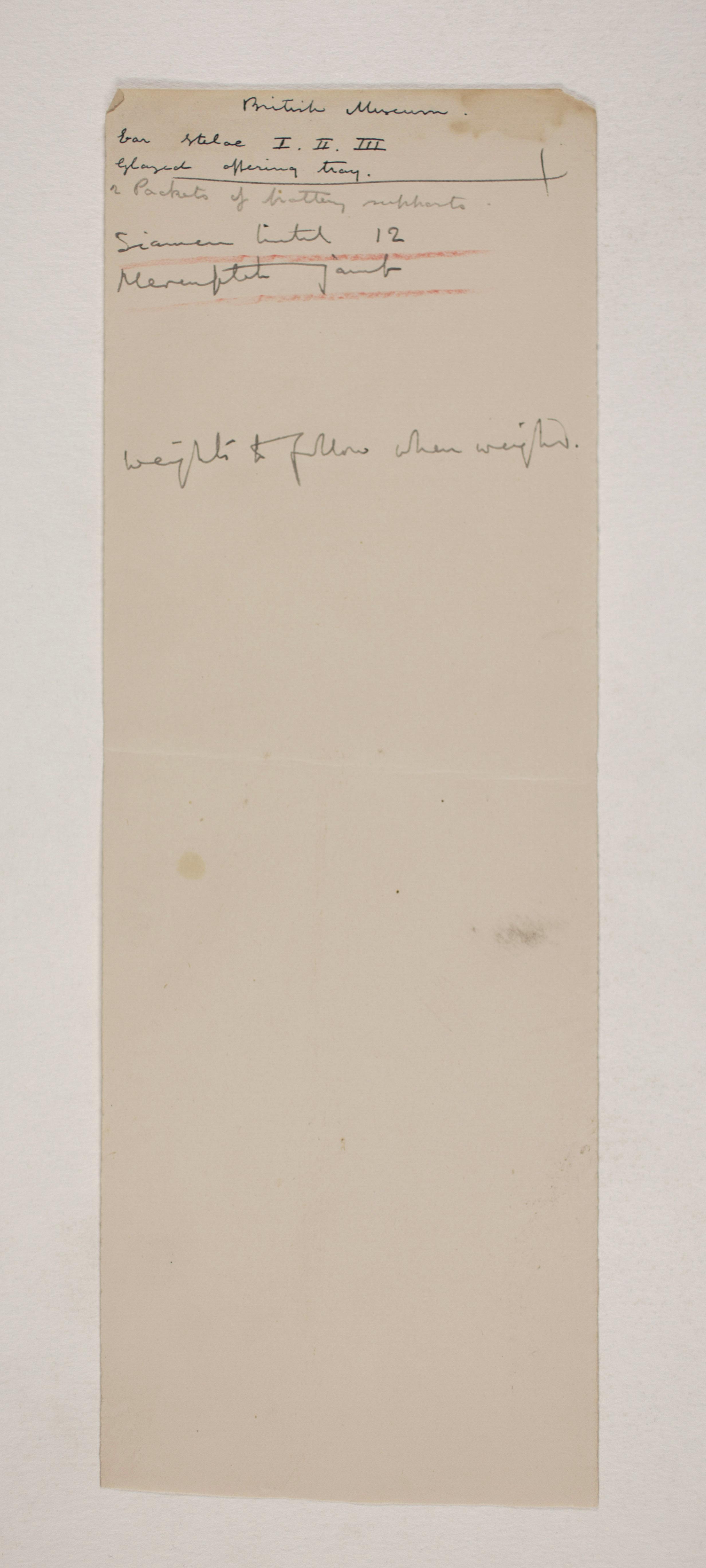 1907-08 Athribis, Memphis Individual institution list  PMA/WFP1/D/16/7