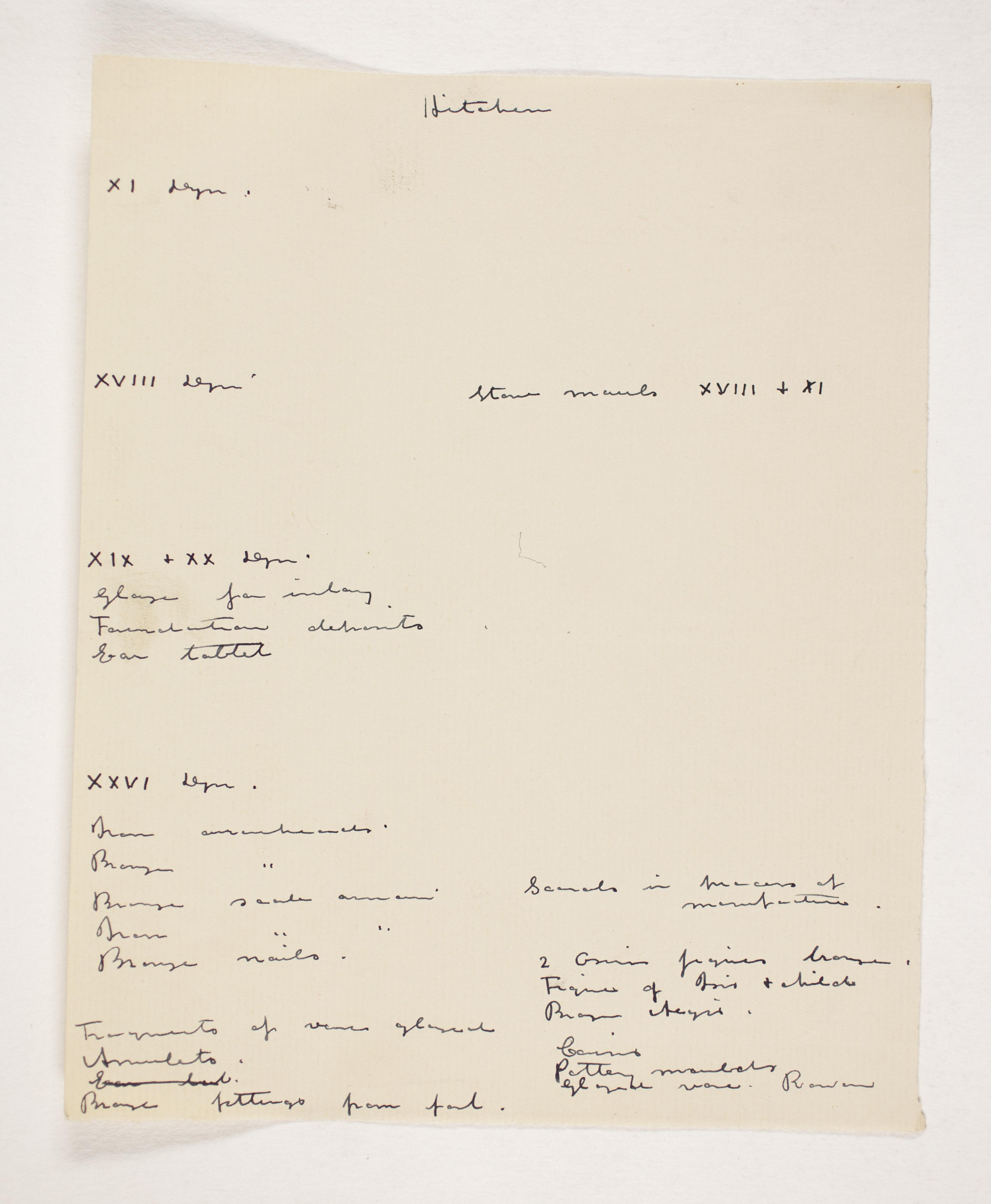 1908-09 Qurneh, Memphis Individual institution list  PMA/WFP1/D/17/4