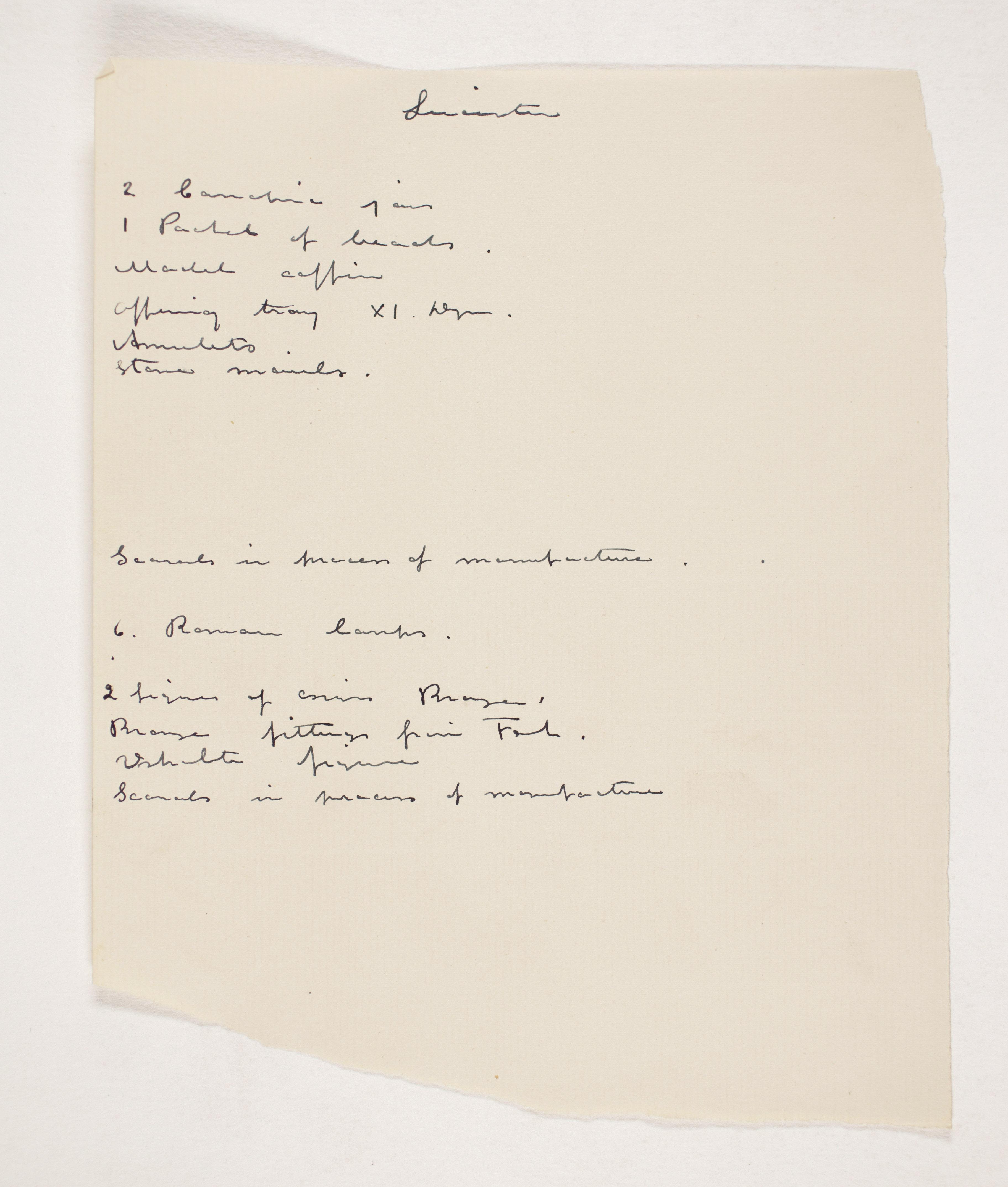 1908-09 Qurneh, Memphis Individual institution list  PMA/WFP1/D/17/5