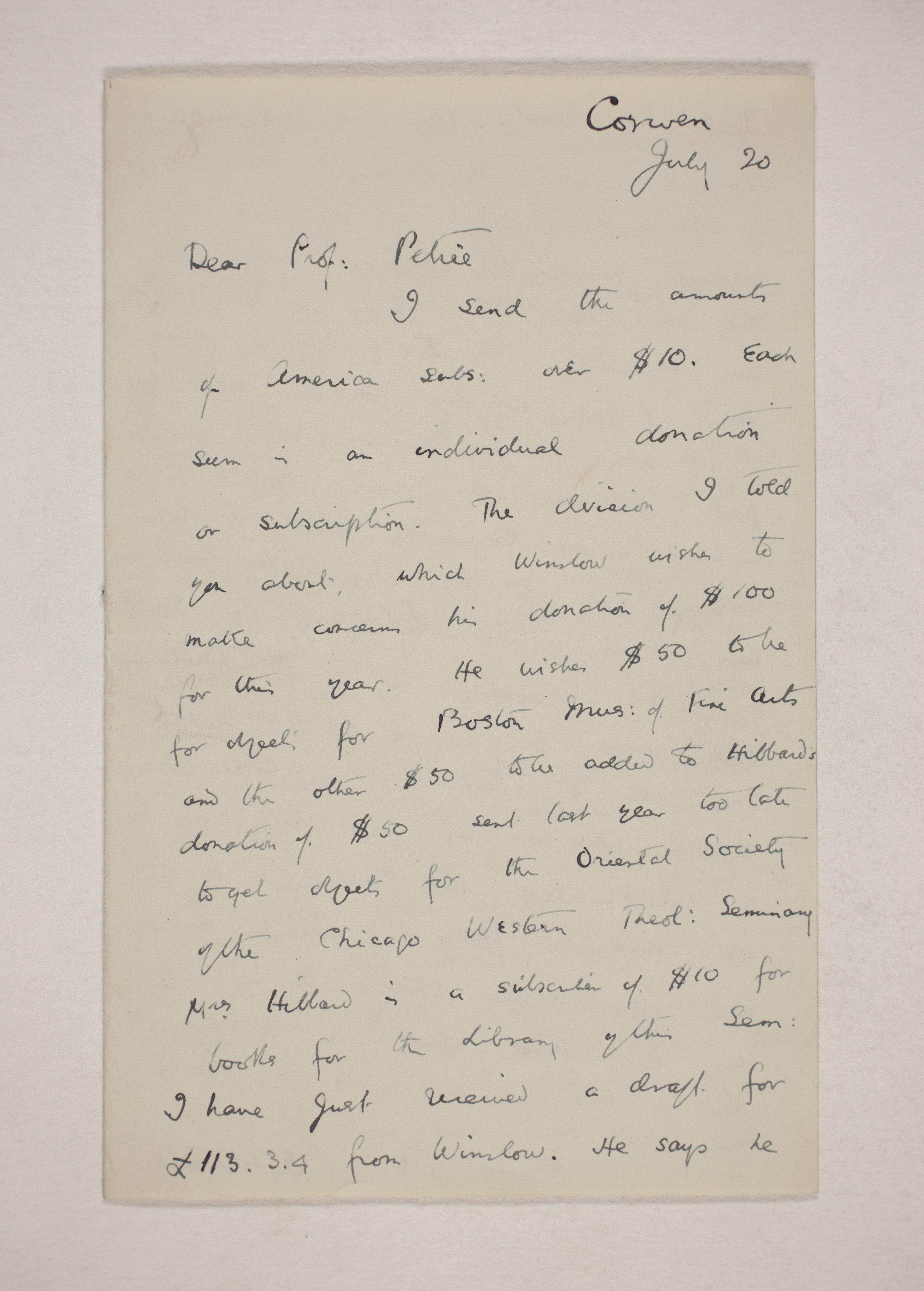 1909-10 Meidum, Memphis Correspondence PMA/WFP1/D/18/12.1