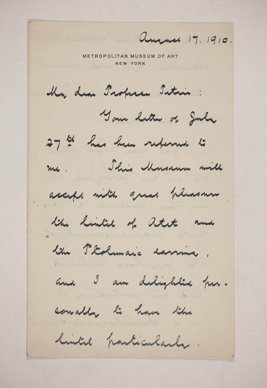 1909-10 Meidum, Memphis Correspondence PMA/WFP1/D/18/13.1
