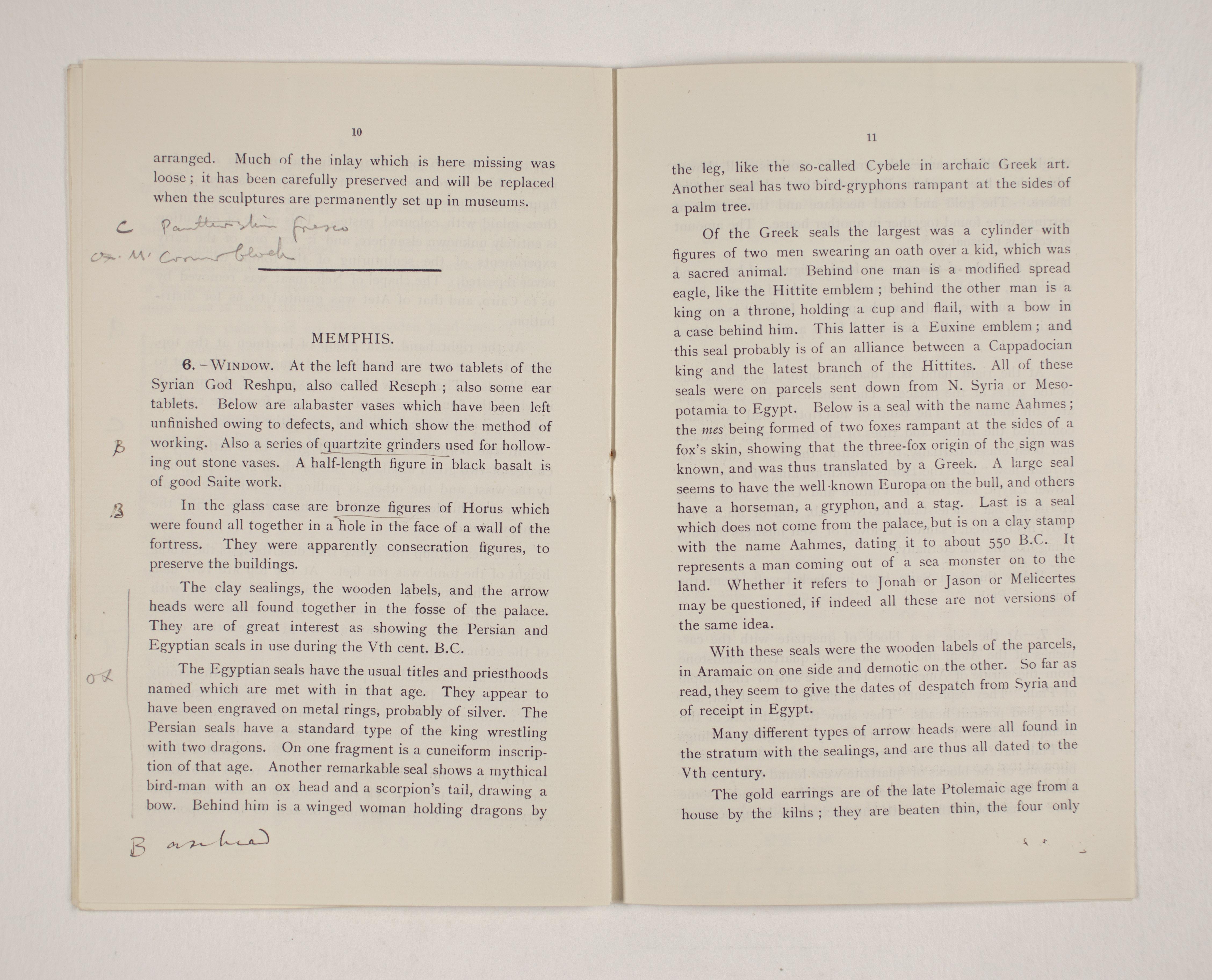 1909-10 Meidum, Memphis Exhibition catalogue PMA/WFP1/D/18/16.6