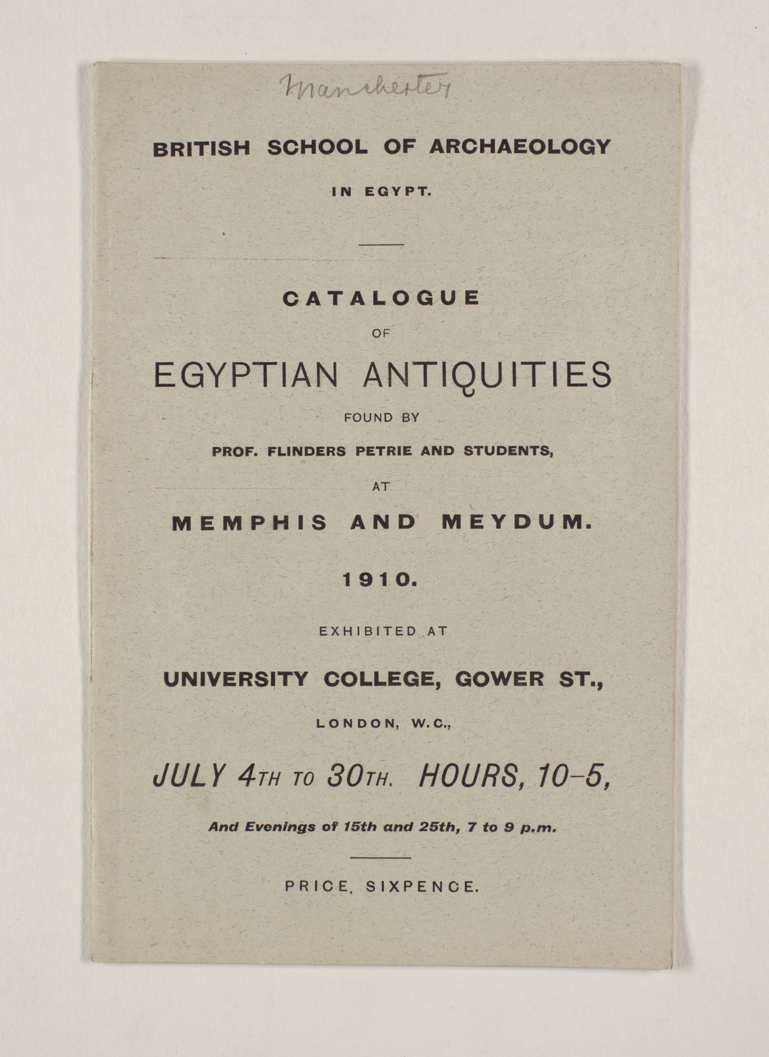 1909-10 Meidum, Memphis Exhibition catalogue PMA/WFP1/D/18/17.1