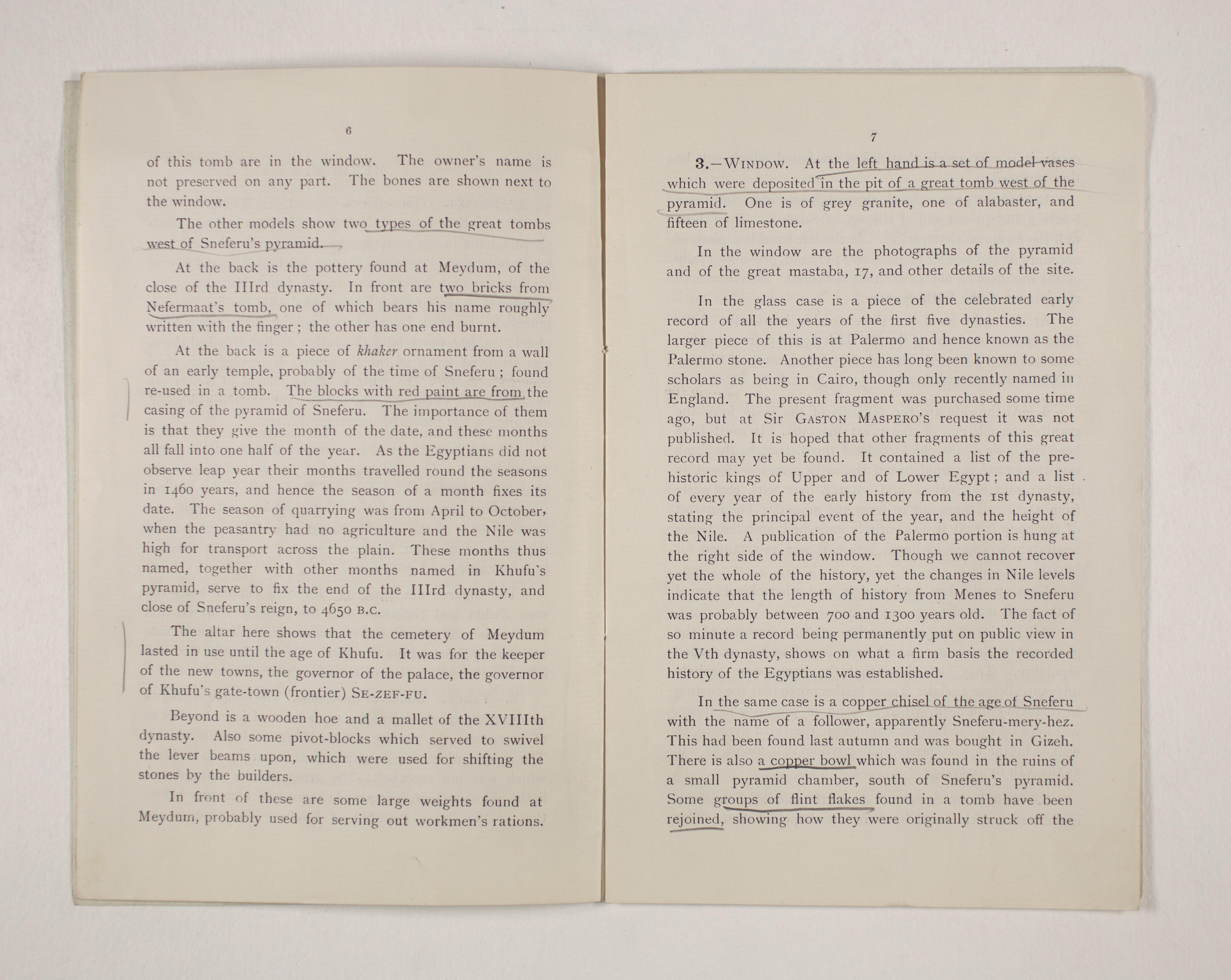1909-10 Meidum, Memphis Exhibition catalogue PMA/WFP1/D/18/17.5