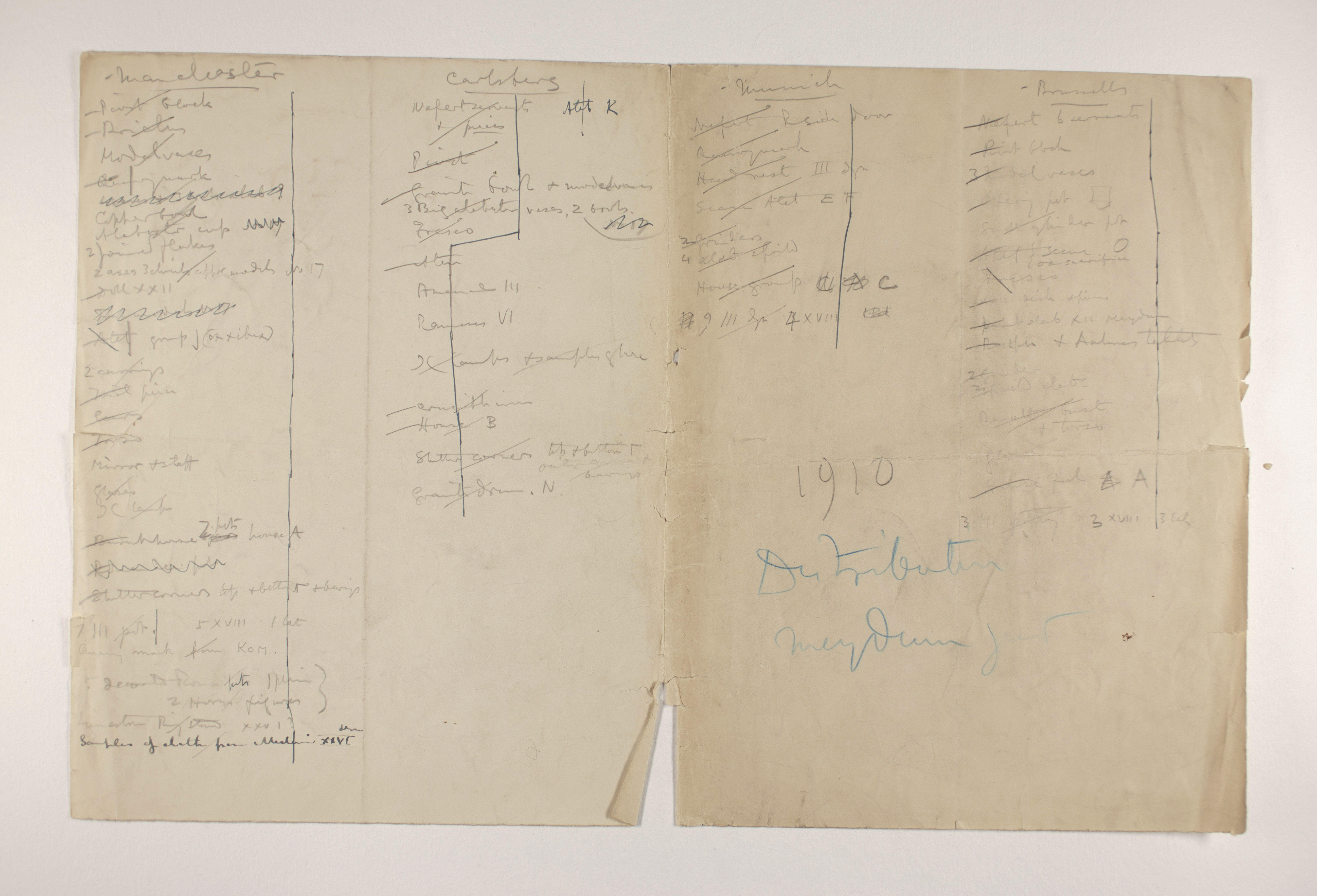 1909-10 Meidum, Memphis Multiple institution list PMA/WFP1/D/18/6