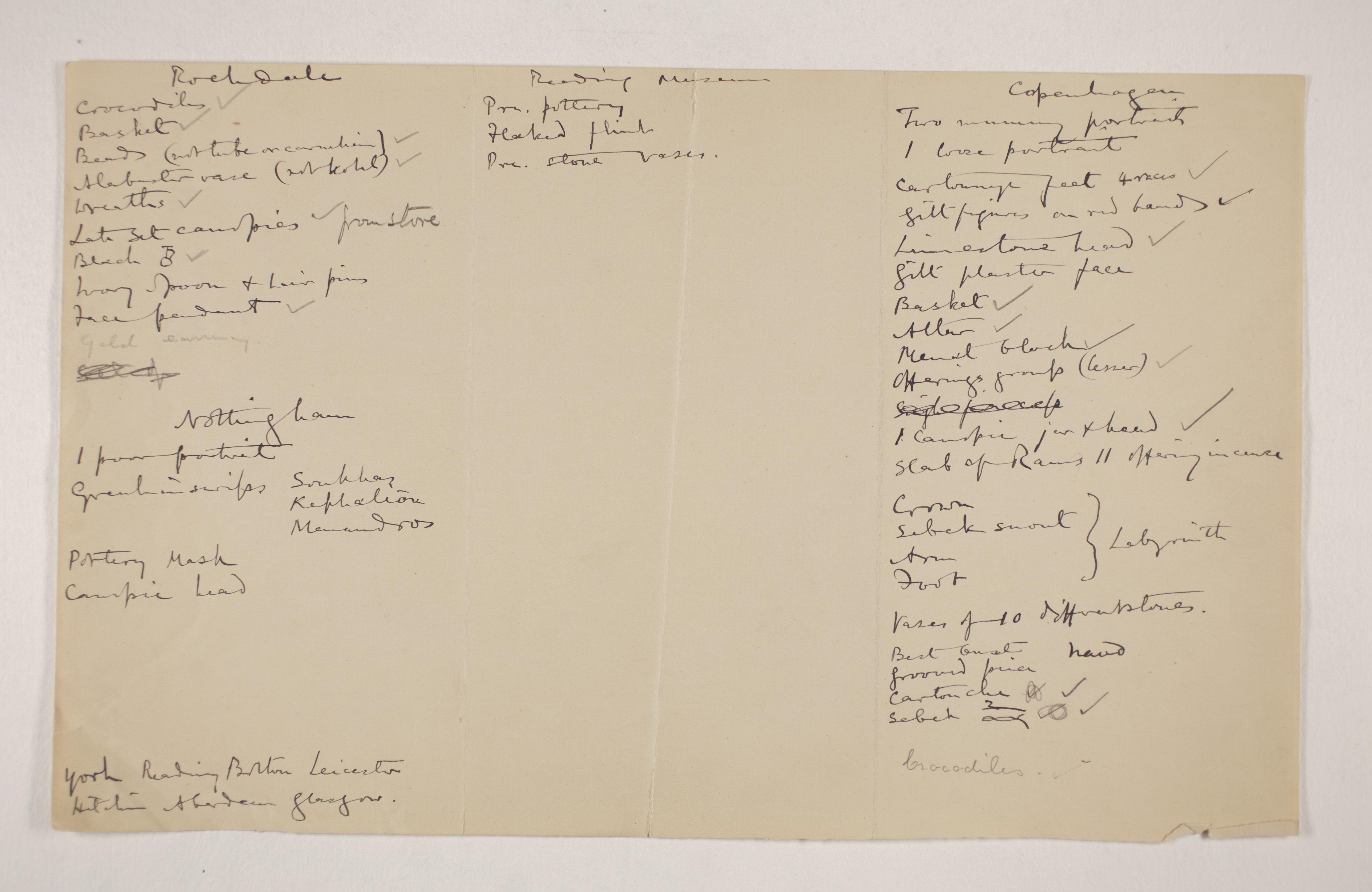 1910-11 Hawara, Gerzeh, Memphis, Mazghuneh Multiple institution list PMA/WFP1/D/19/11