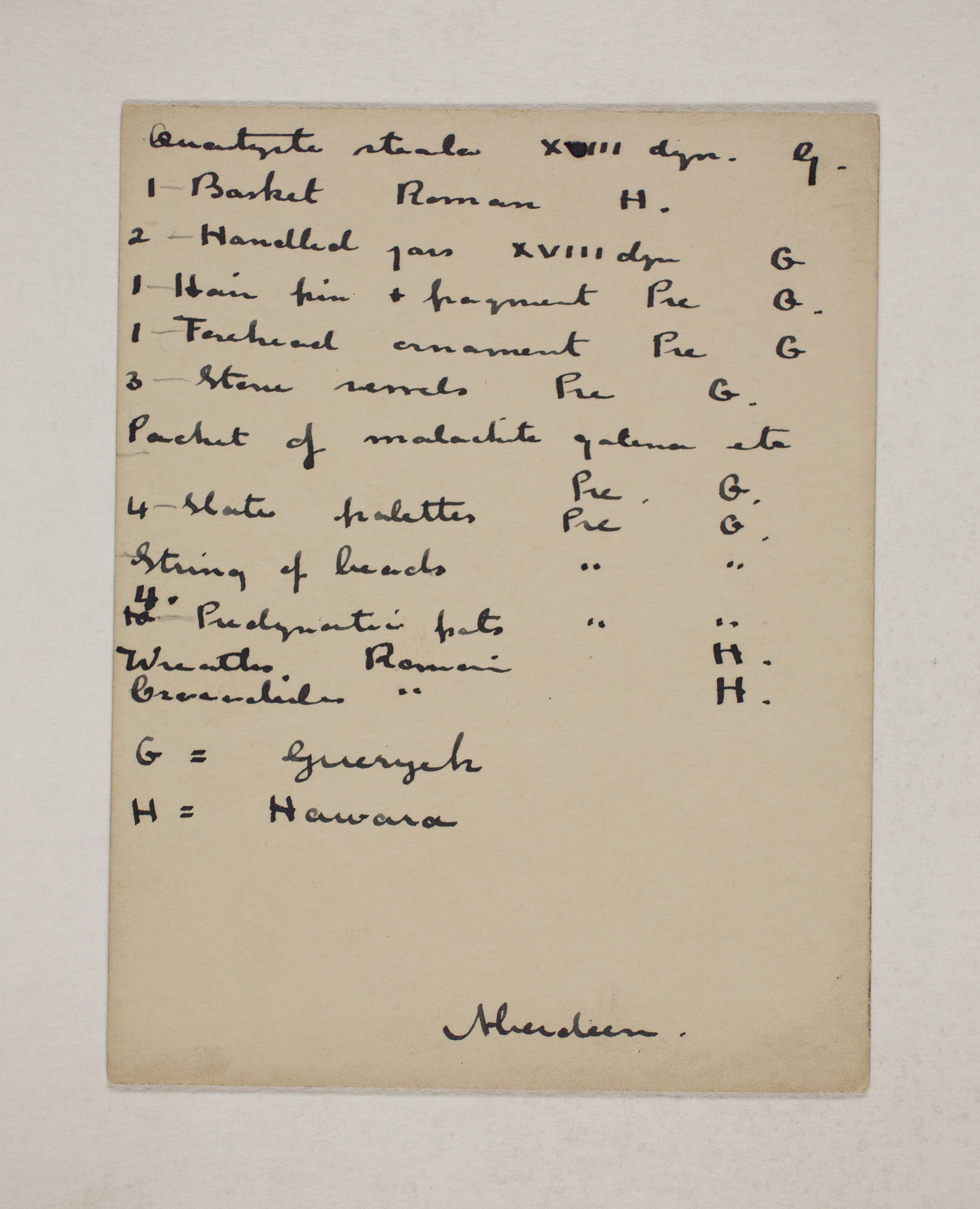 1910-11 Hawara, Gerzeh, Memphis, Mazghuneh Individual institution list  PMA/WFP1/D/19/14