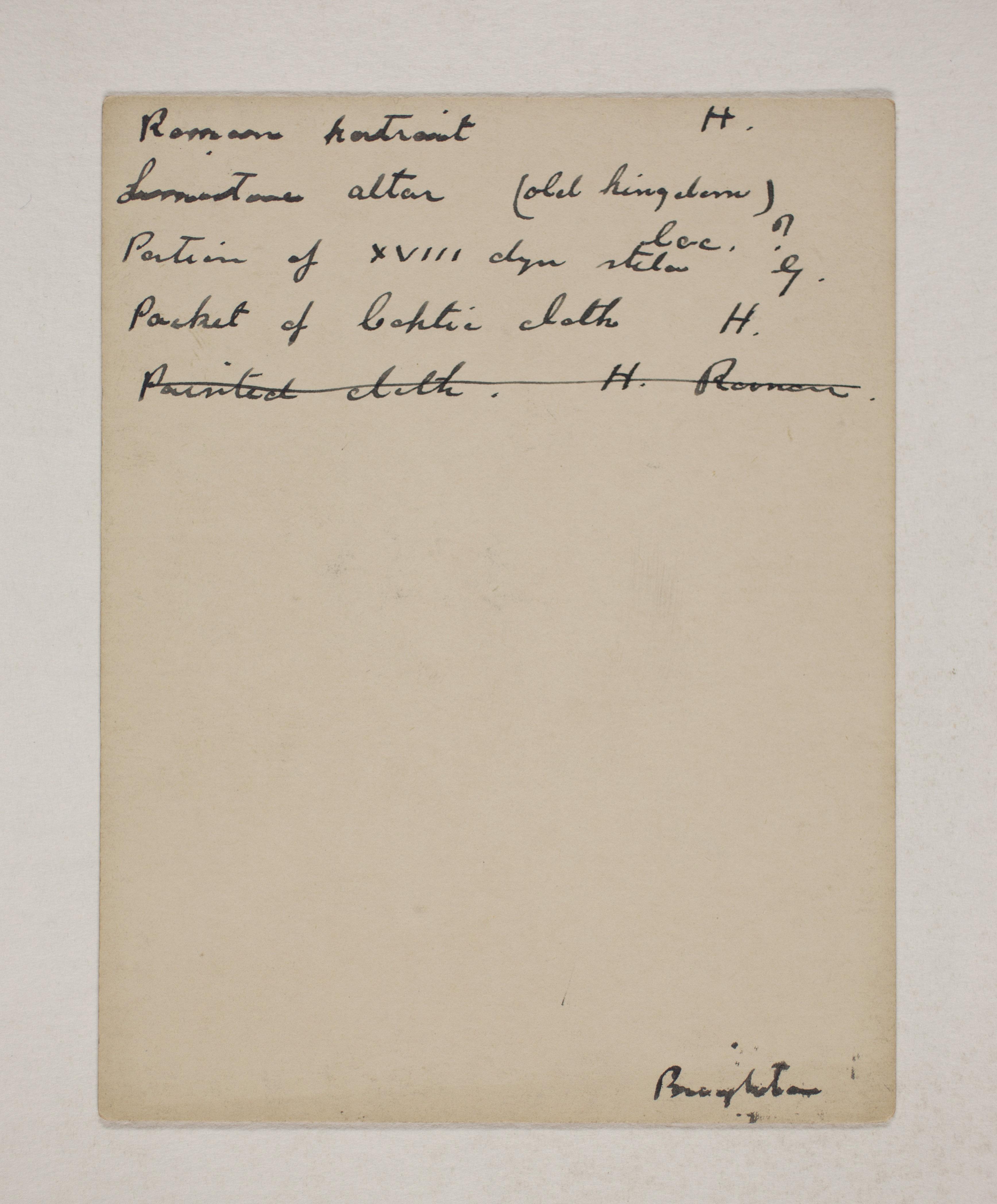 1910-11 Hawara, Gerzeh, Memphis, Mazghuneh Individual institution list  PMA/WFP1/D/19/16