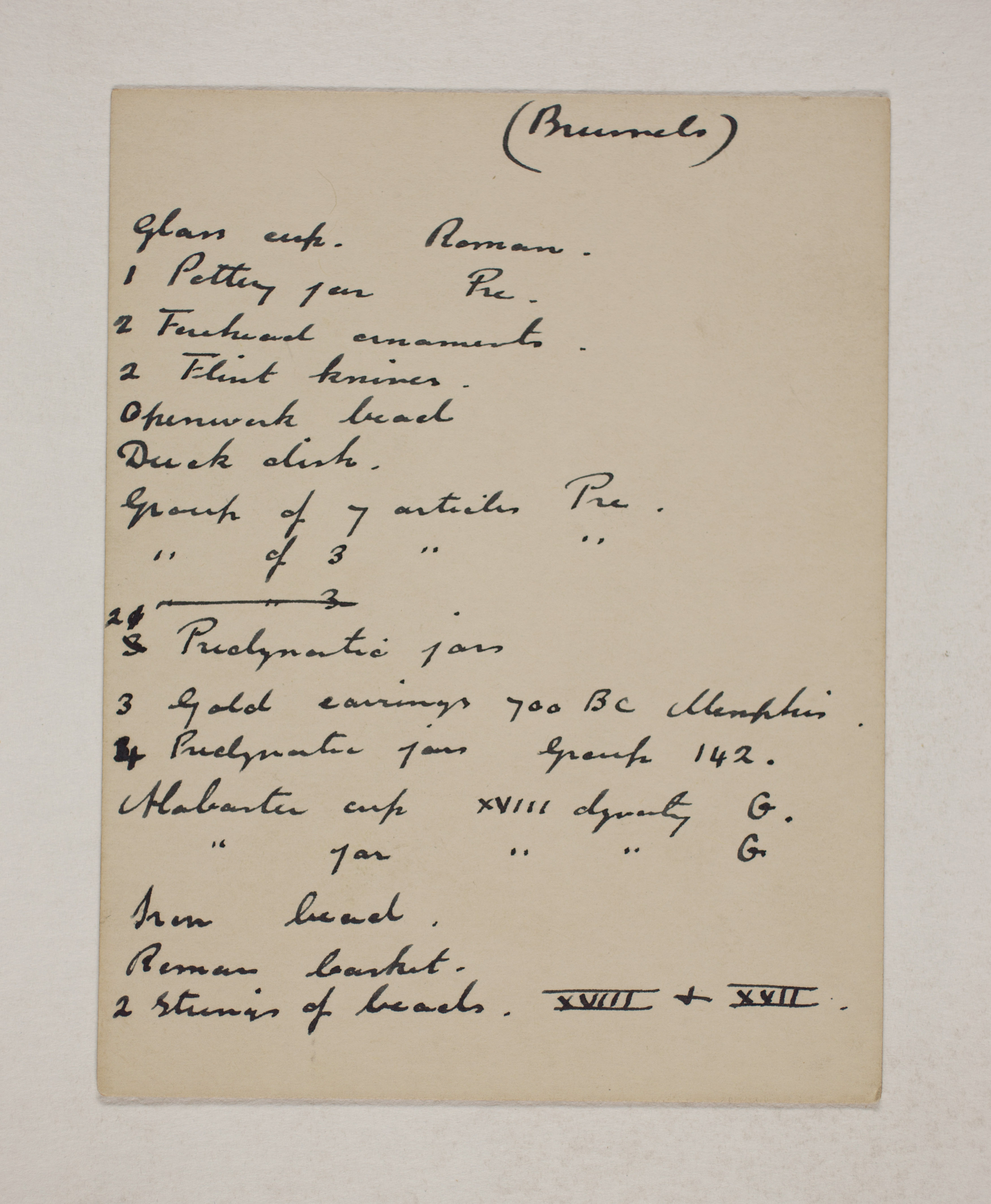 1910-11 Hawara, Gerzeh, Memphis, Mazghuneh Individual institution list  PMA/WFP1/D/19/18.1