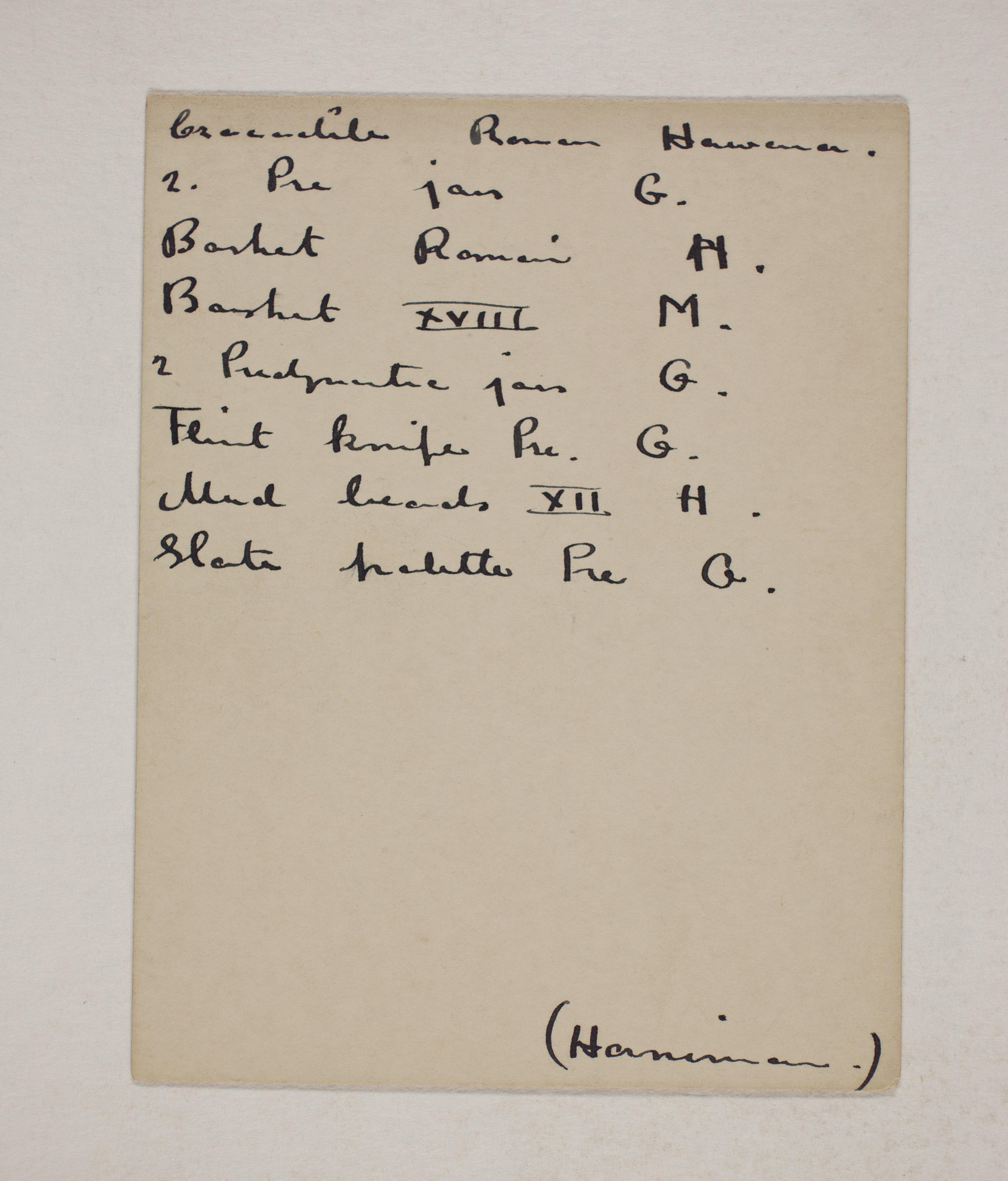 1910-11 Hawara, Gerzeh, Memphis, Mazghuneh Individual institution list  PMA/WFP1/D/19/24