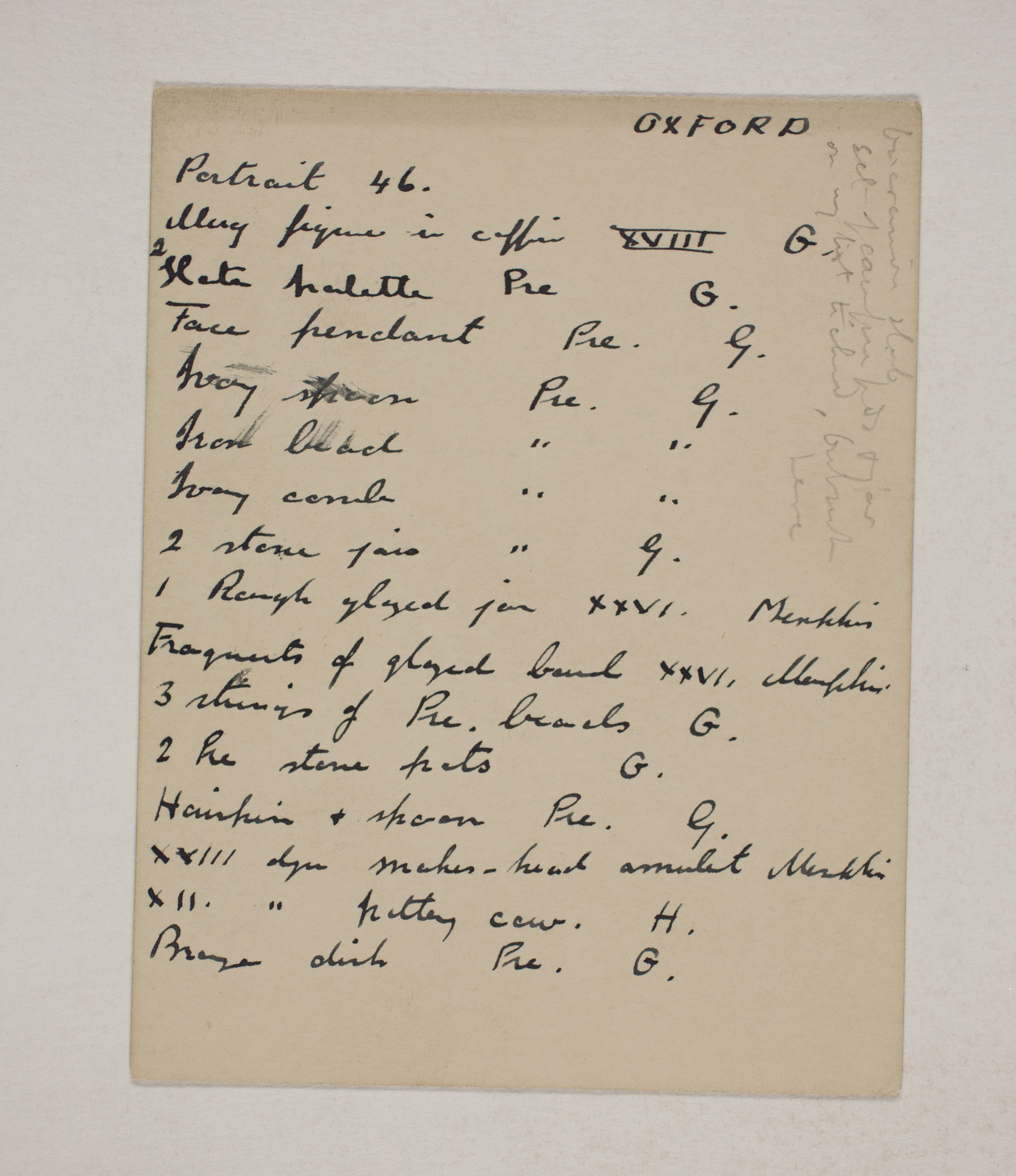 1910-11 Hawara, Gerzeh, Memphis, Mazghuneh Individual institution list  PMA/WFP1/D/19/22.1